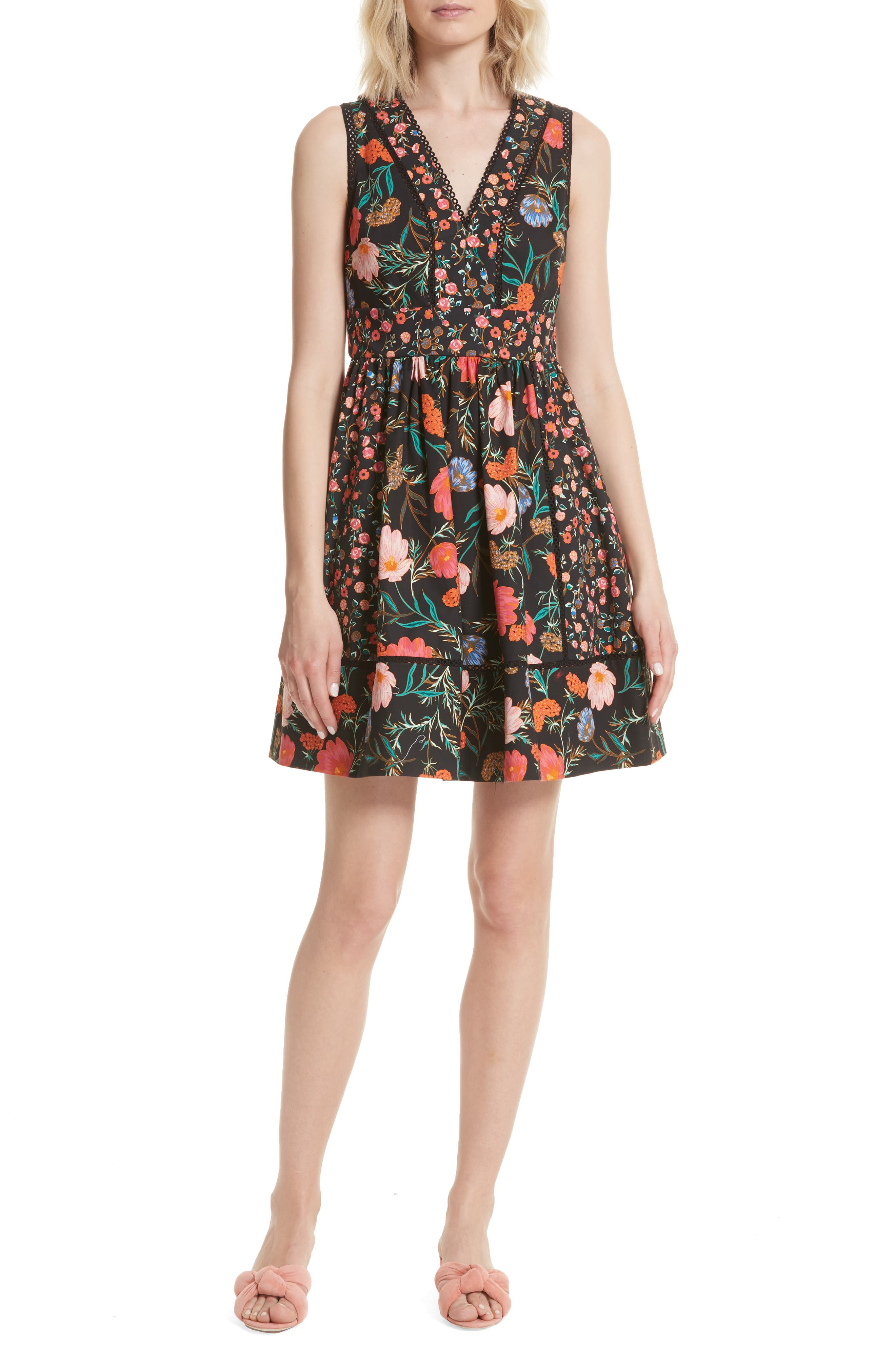 blossom sleeveless fit & flare dress,                             Main thumbnail 1, color,                             001
