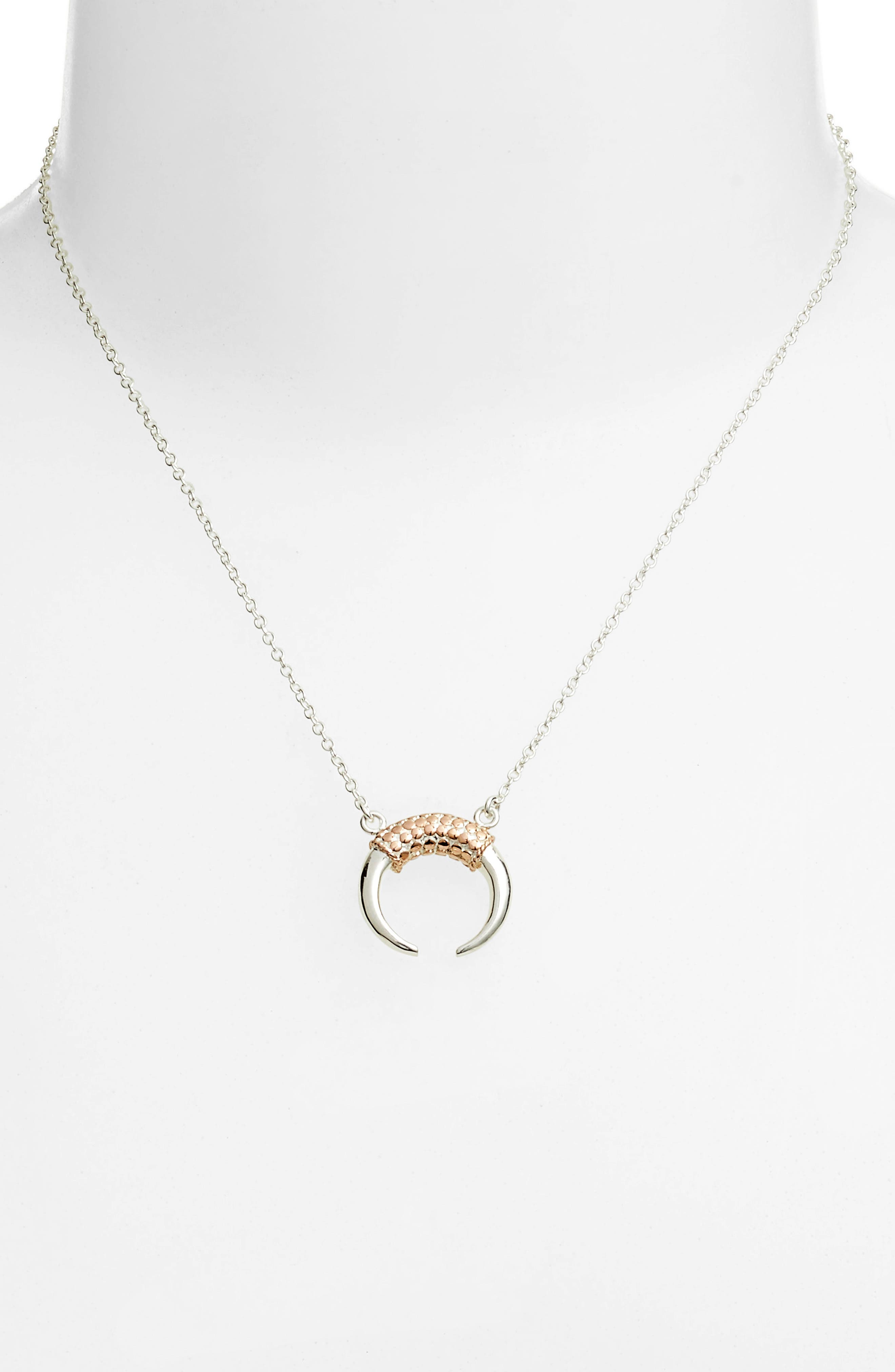 Two-Tone Horn Necklace,                             Alternate thumbnail 2, color,                             ROSE GOLD/ SILVER