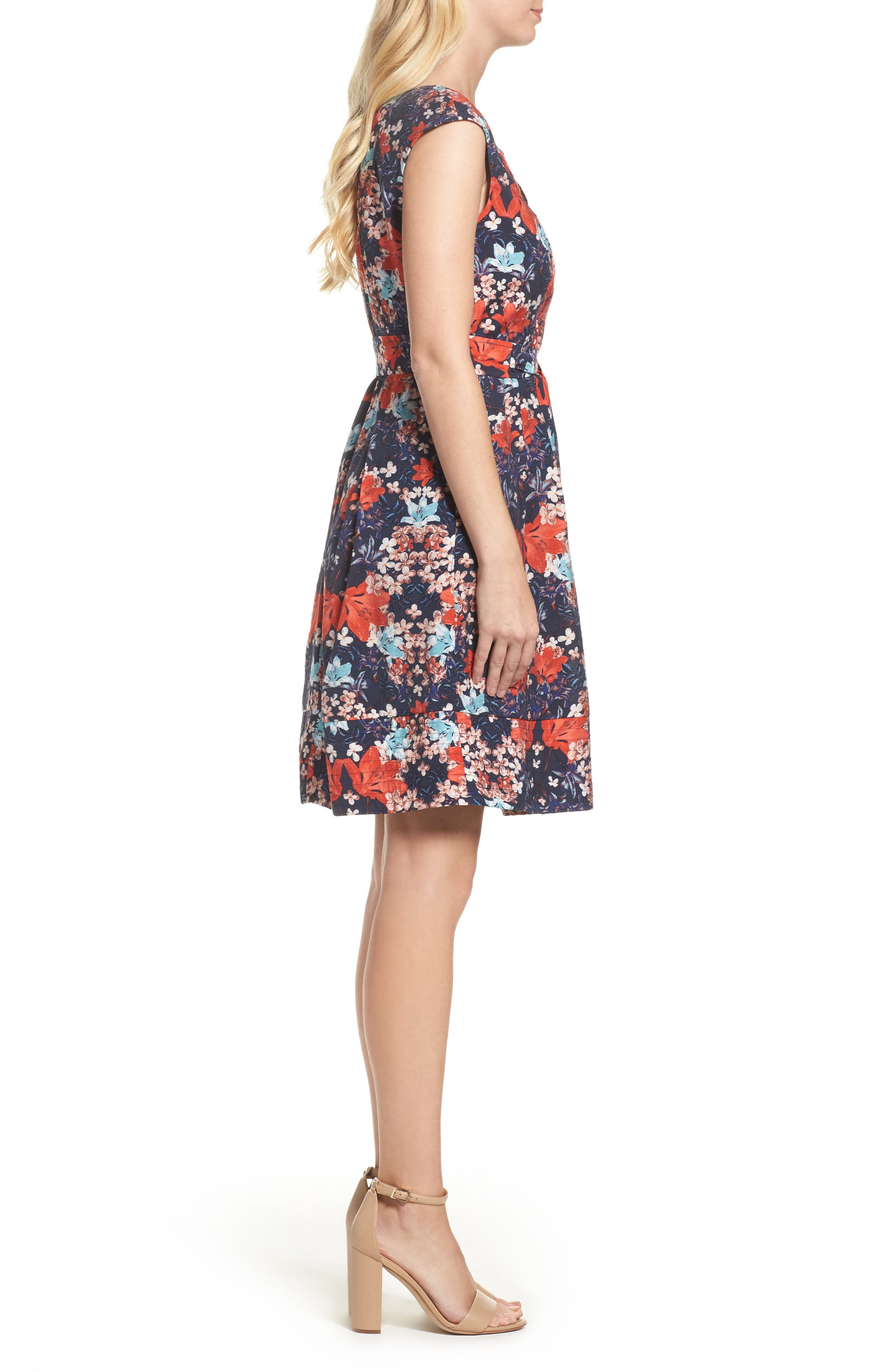 Linenette Fit & Flare Dress,                             Alternate thumbnail 3, color,                             480