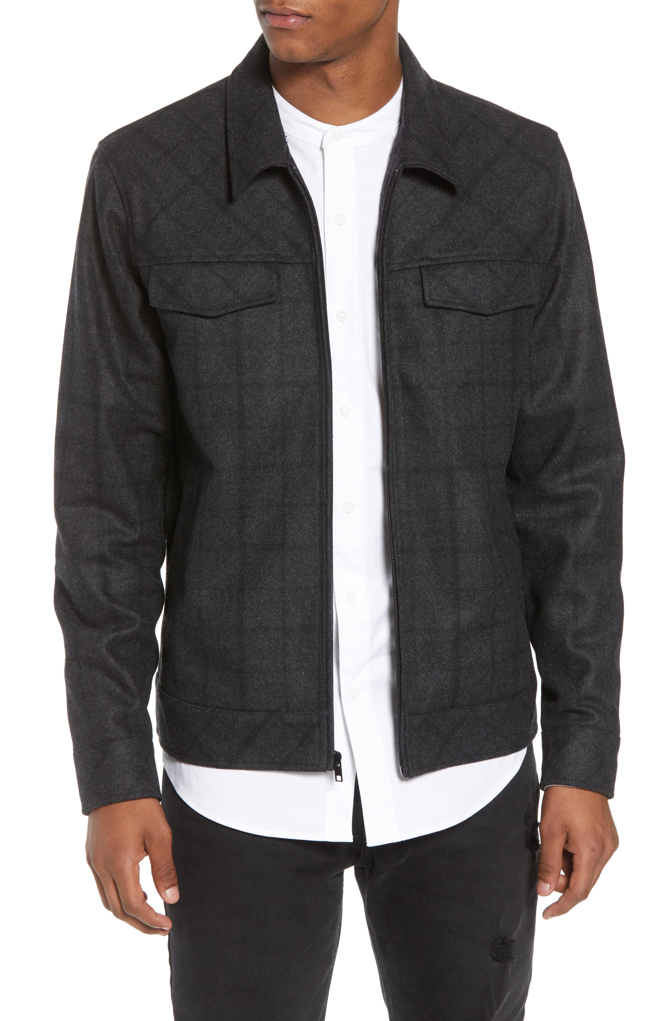 Plaid Jacket,                             Main thumbnail 1, color,                             BLACK