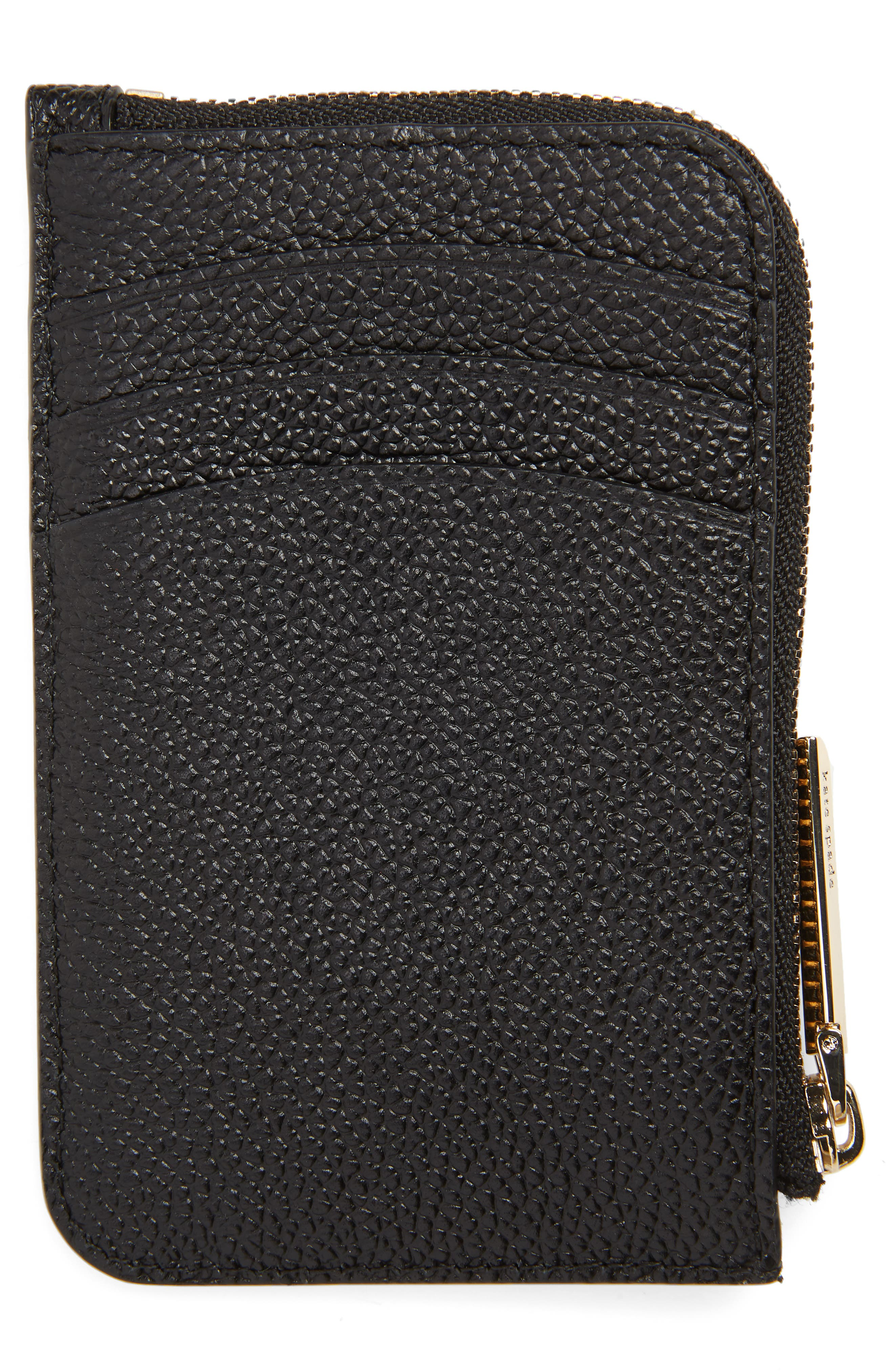 KATE SPADE NEW YORK,                             margaux leather zip card holder,                             Alternate thumbnail 3, color,                             BLACK