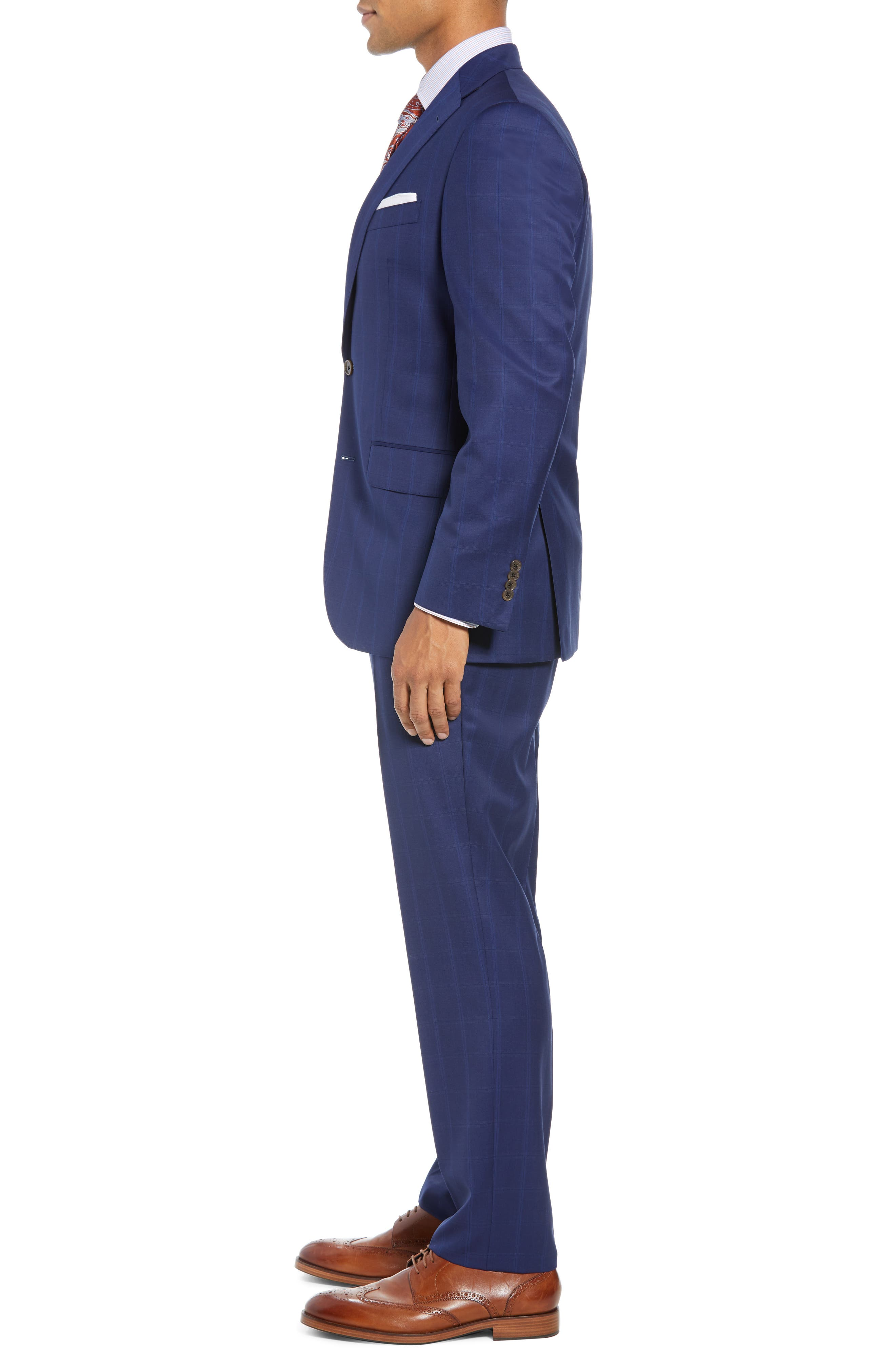 DAVID DONAHUE,                             Ryan Classic Fit Windowpane Wool Suit,                             Alternate thumbnail 3, color,                             400