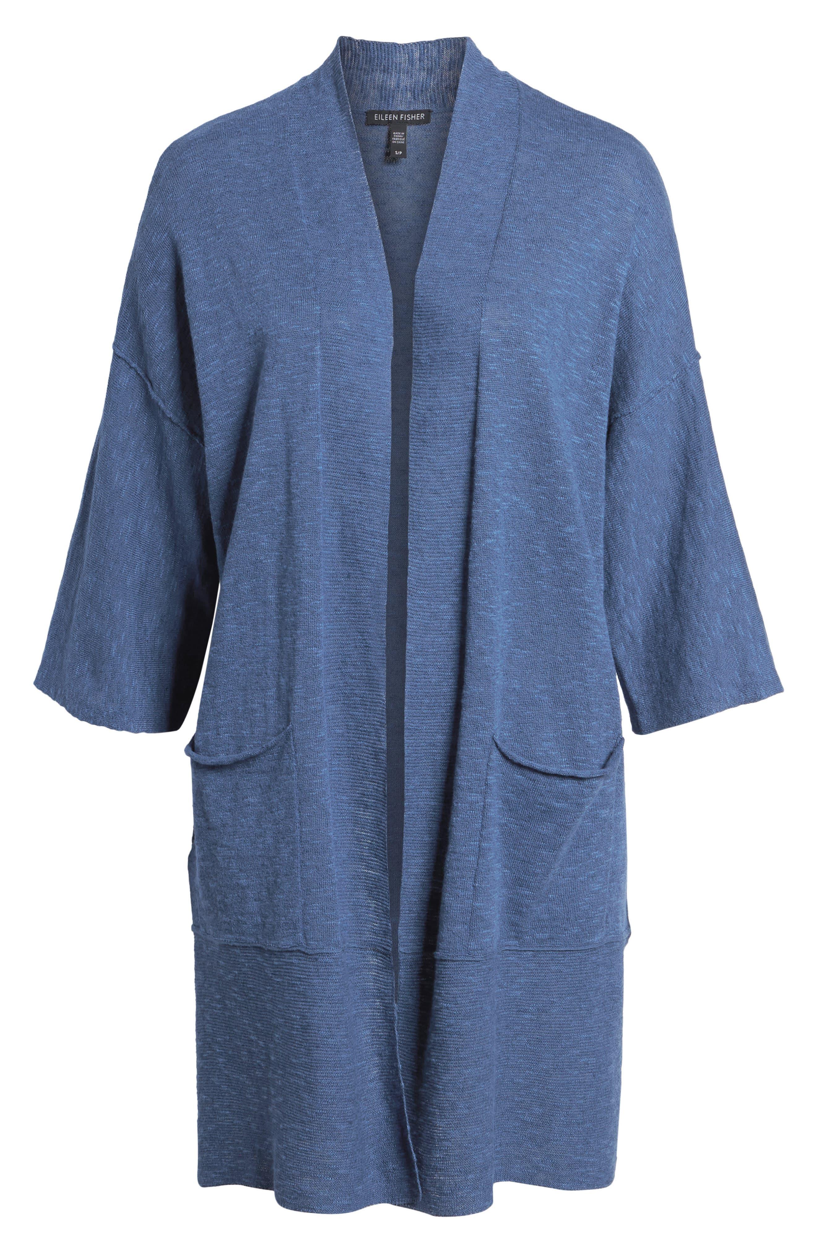 Organic Linen & Cotton Kimono Cardigan,                             Alternate thumbnail 13, color,