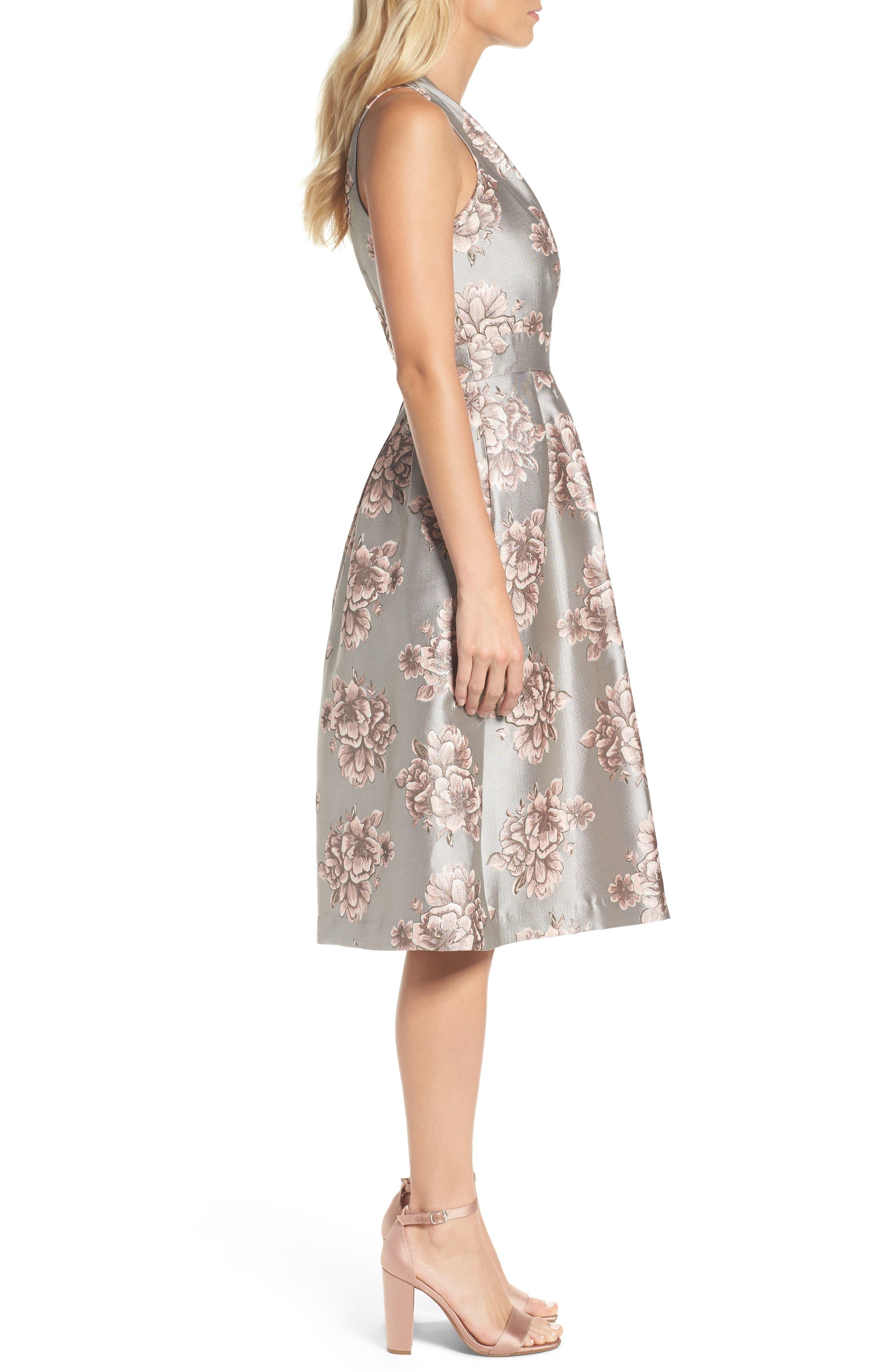 Metallic Floral Fit & Flare Dress,                             Alternate thumbnail 3, color,                             041