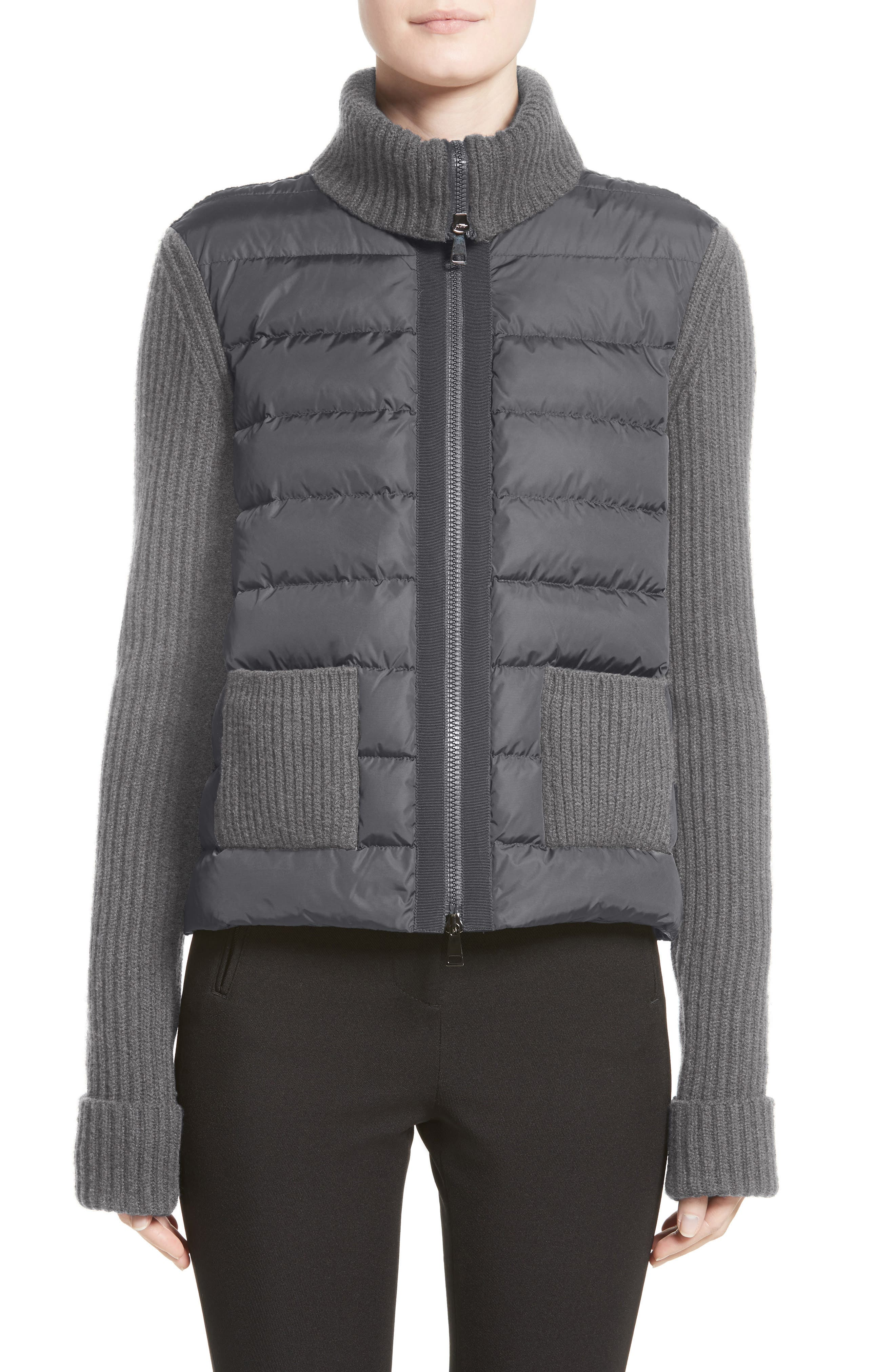 Ciclista Quilted Down Front Sweater Jacket,                             Main thumbnail 1, color,                             GREY