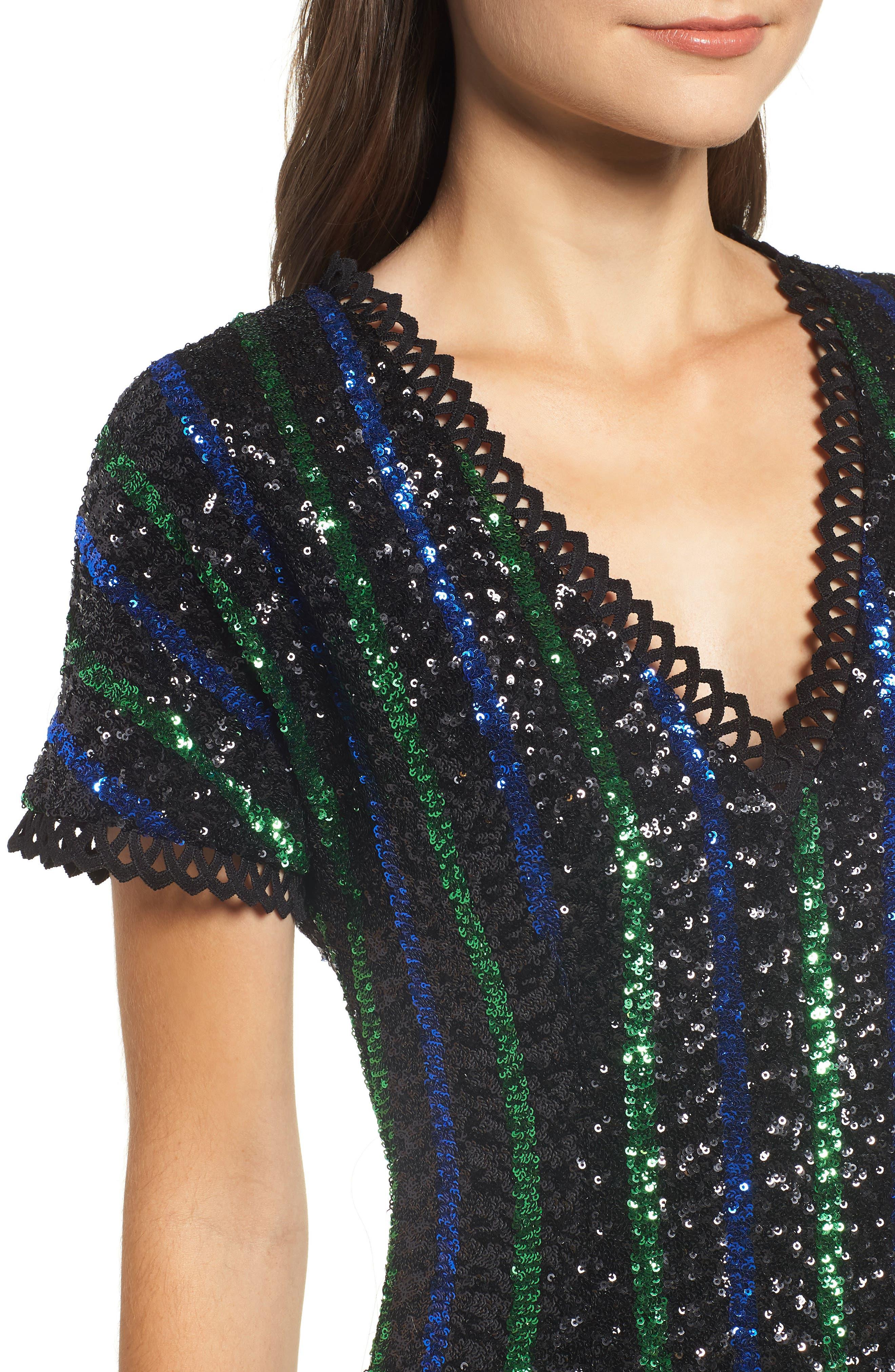Sequin Stripe Minidress,                             Alternate thumbnail 4, color,                             BLACK