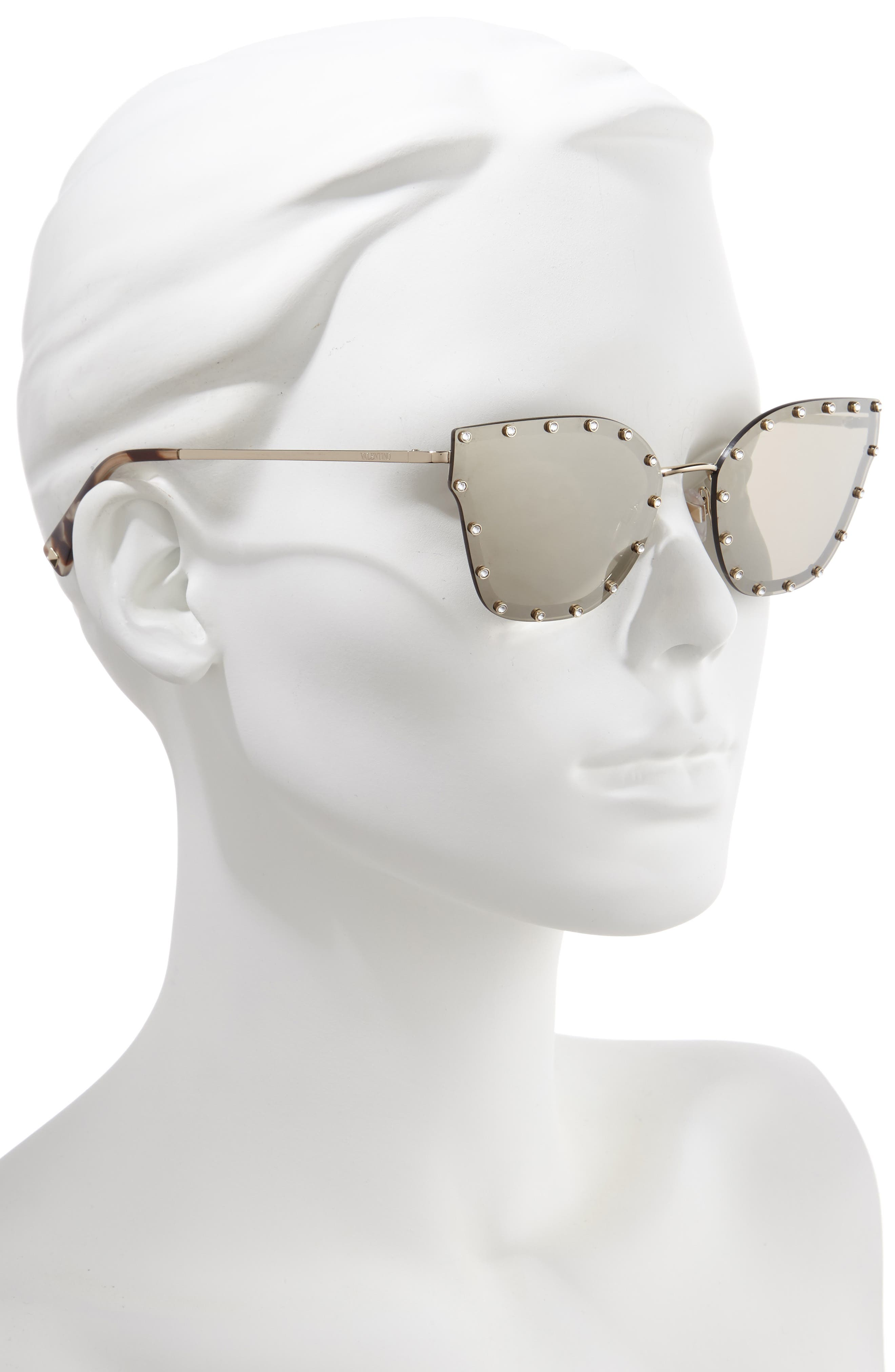 VALENTINO,                             59mm Cat Eye Sunglasses,                             Alternate thumbnail 2, color,                             LIGHT GOLD/ GOLD