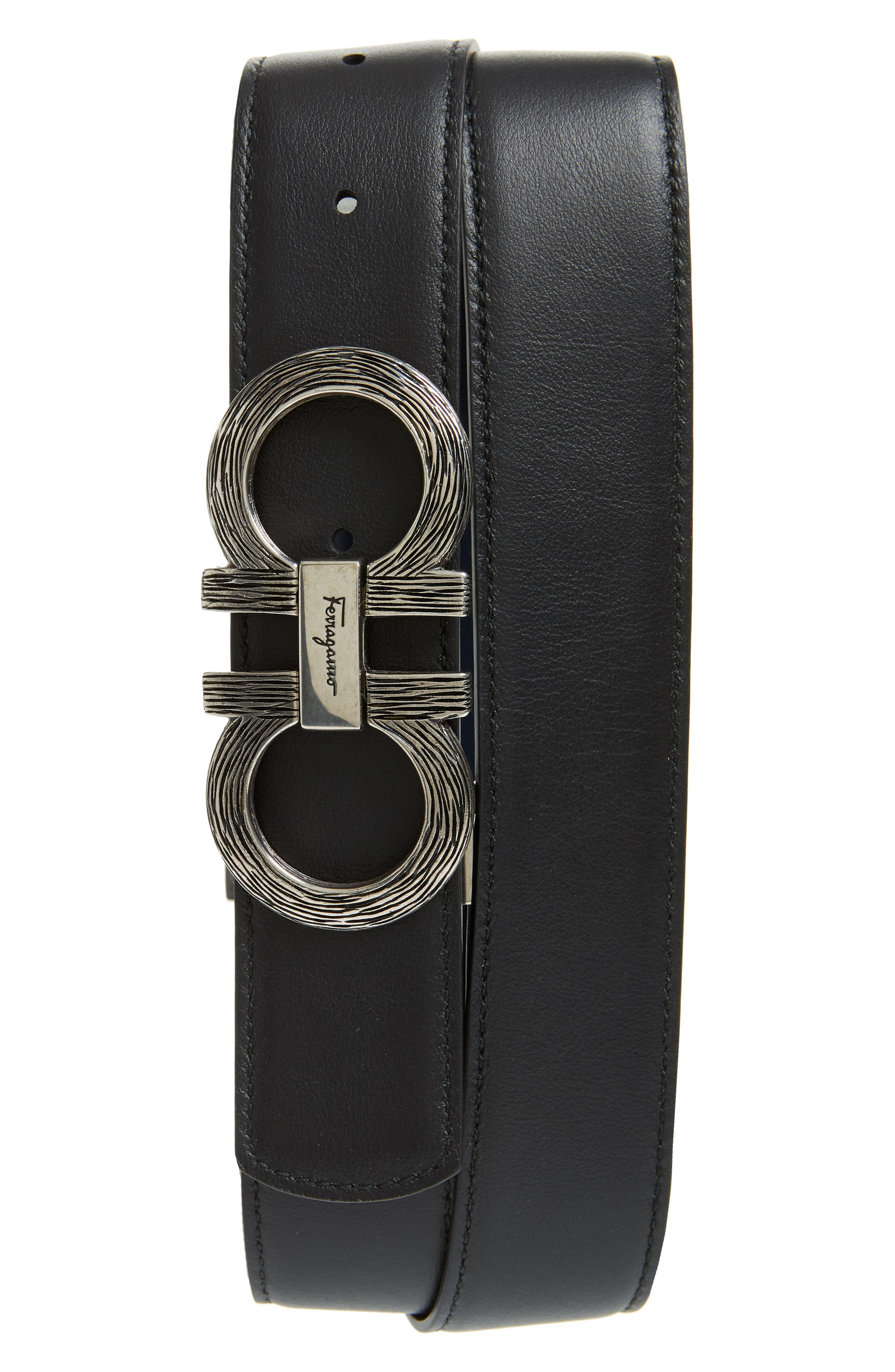 Etched Double Gancio Reversible Leather Belt,                             Alternate thumbnail 2, color,                             BLUE MARINE/ BLACK