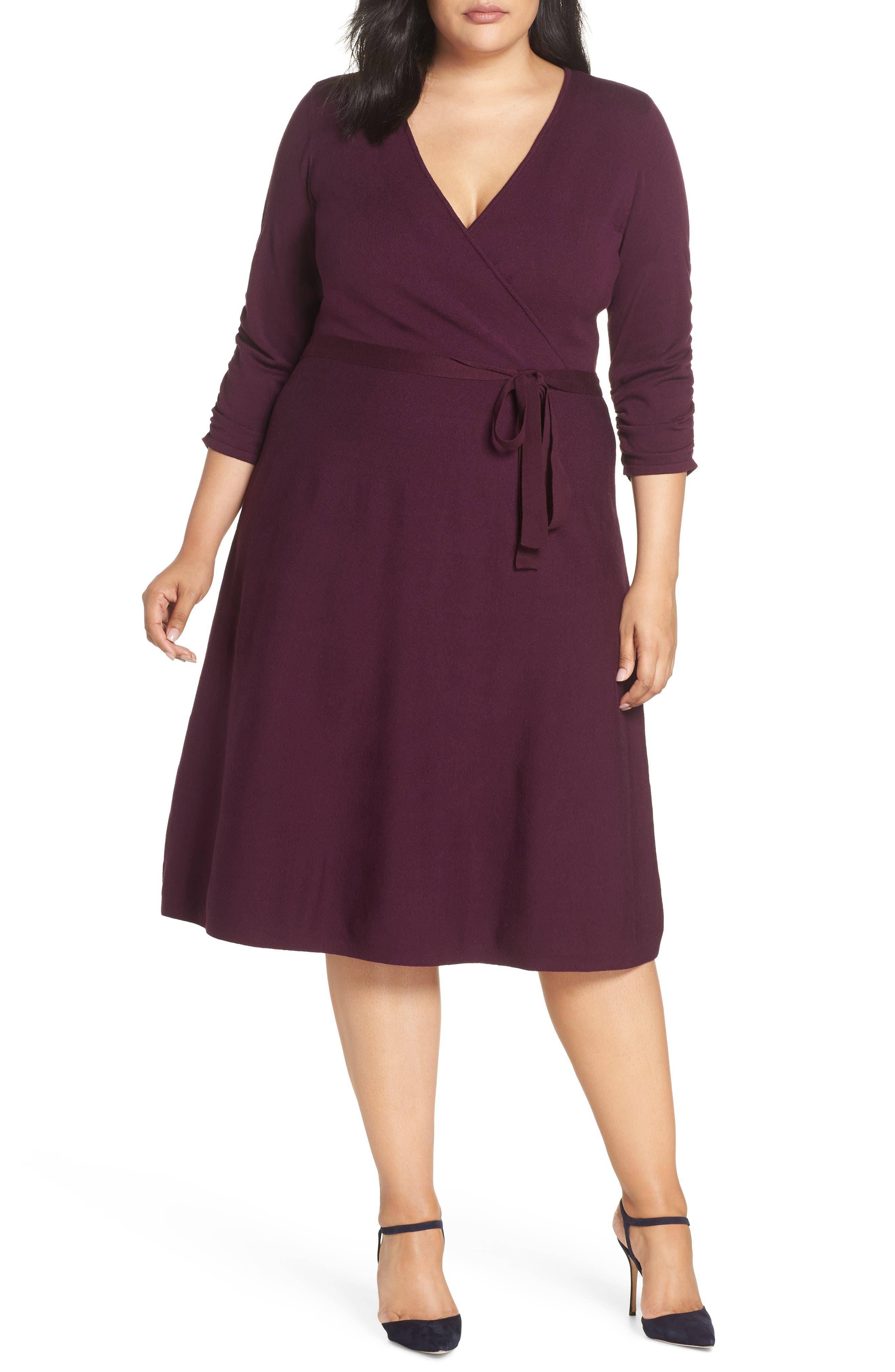 Plus Size Eliza J Midi Faux Wrap Dress, Burgundy