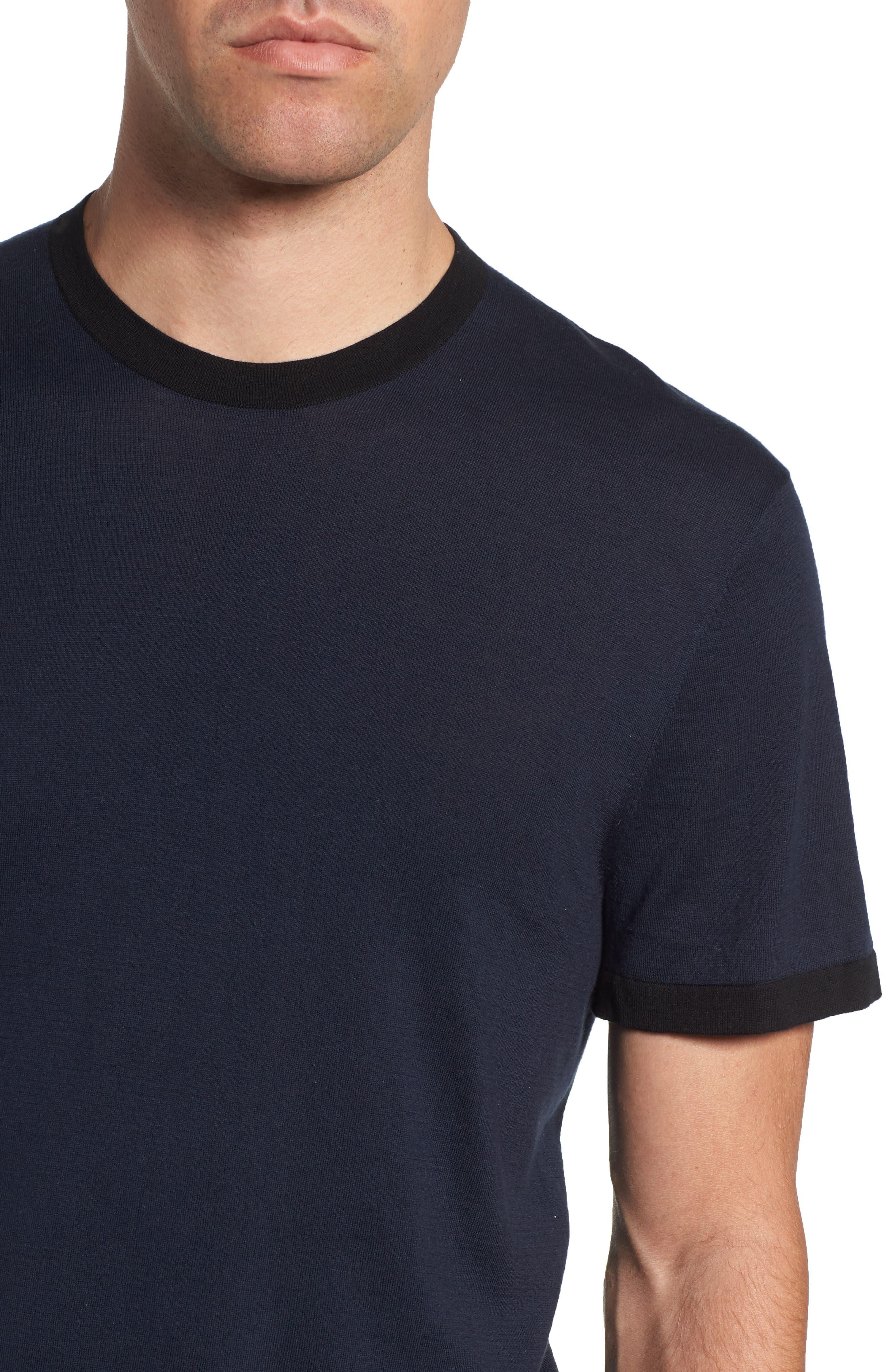 Regular Fit Ringer T-Shirt,                             Alternate thumbnail 4, color,                             FRENCH NAVY/ BLACK
