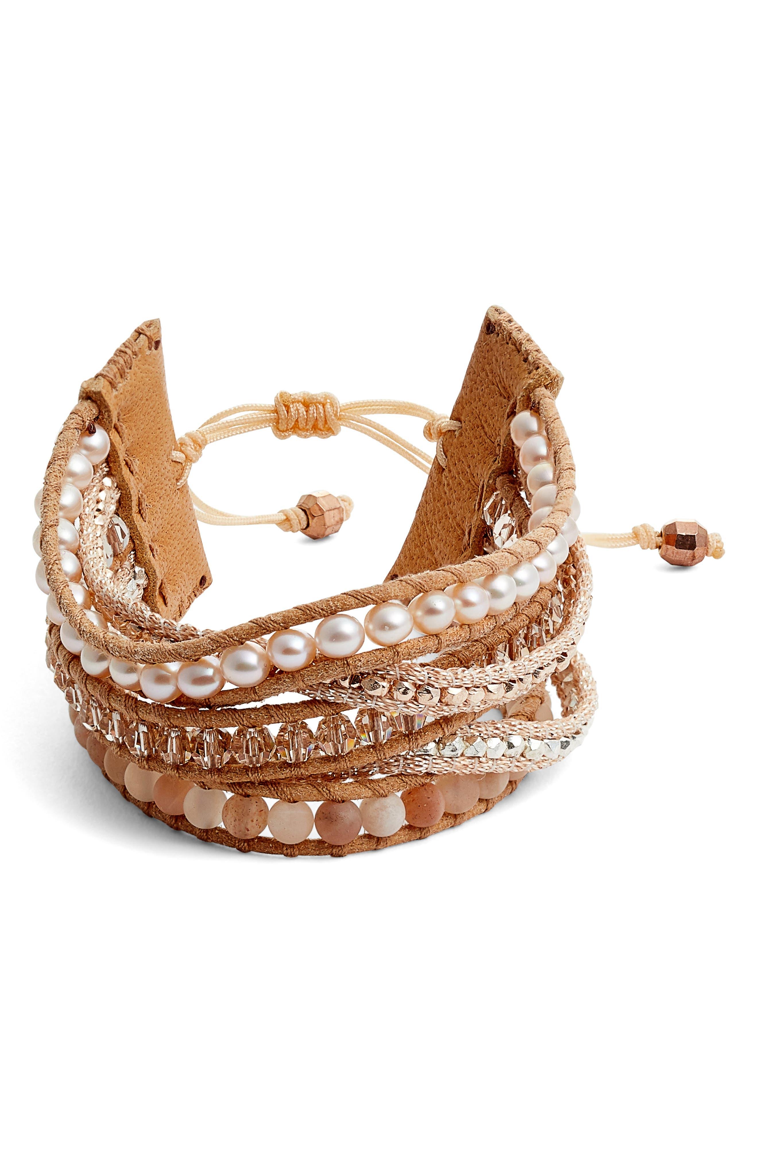 Multistrand Pull Tie Pearl Mix Bracelet,                             Main thumbnail 1, color,                             650