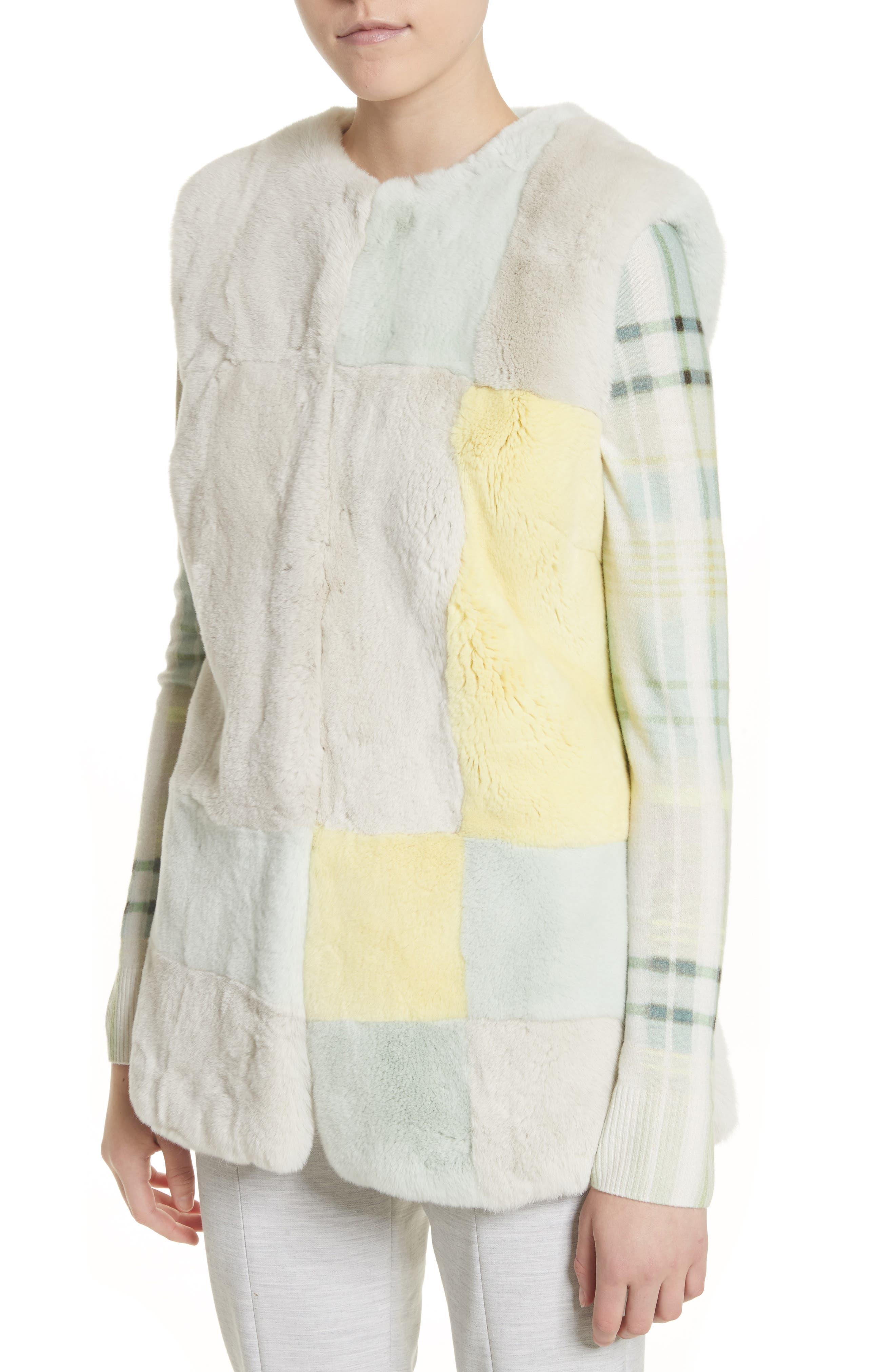 Genuine Rabbit Fur Intarsia Vest,                             Alternate thumbnail 4, color,                             205