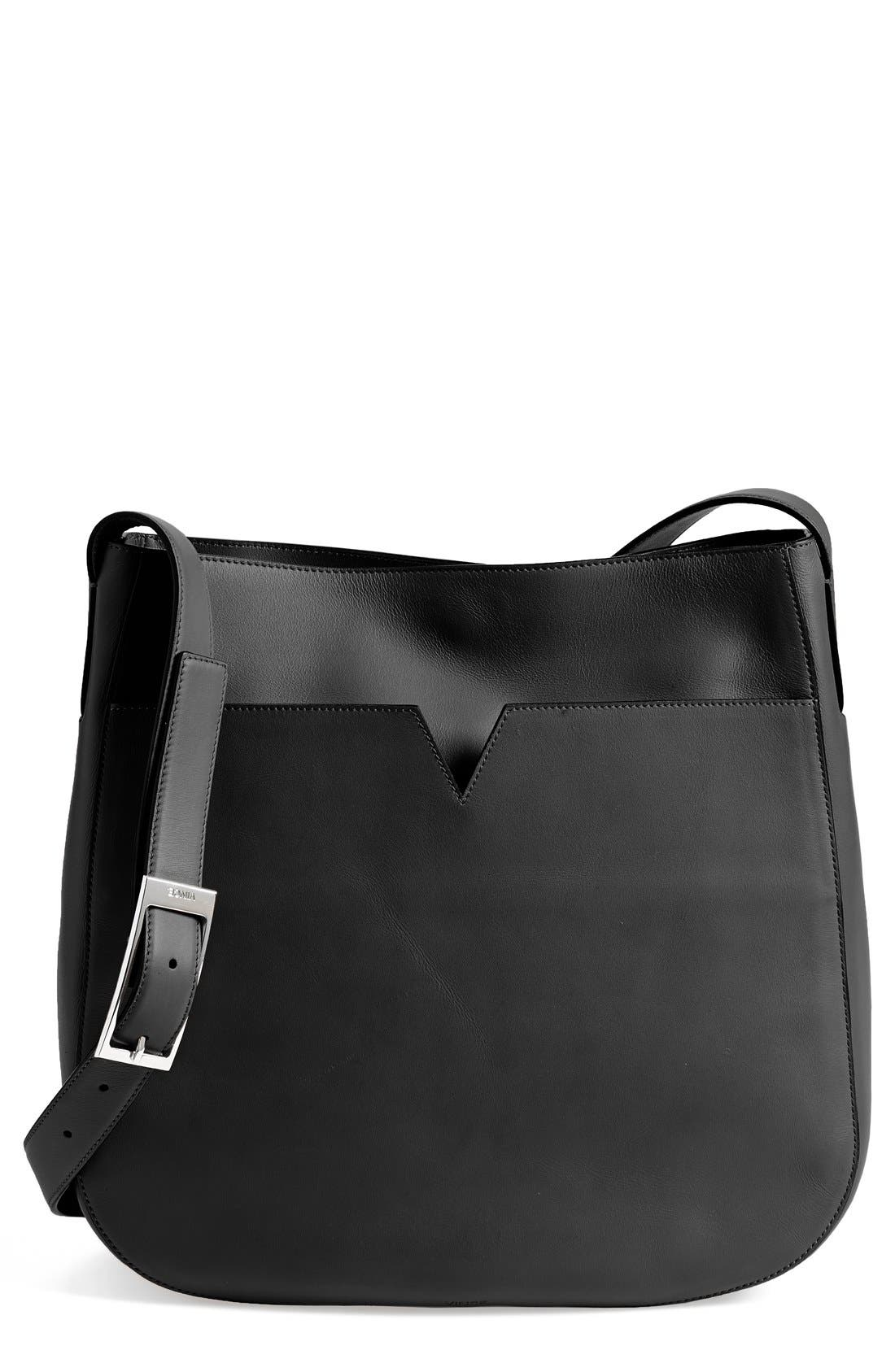 VINCE 'Medium' Leather Crossbody Bag, Main, color, 001