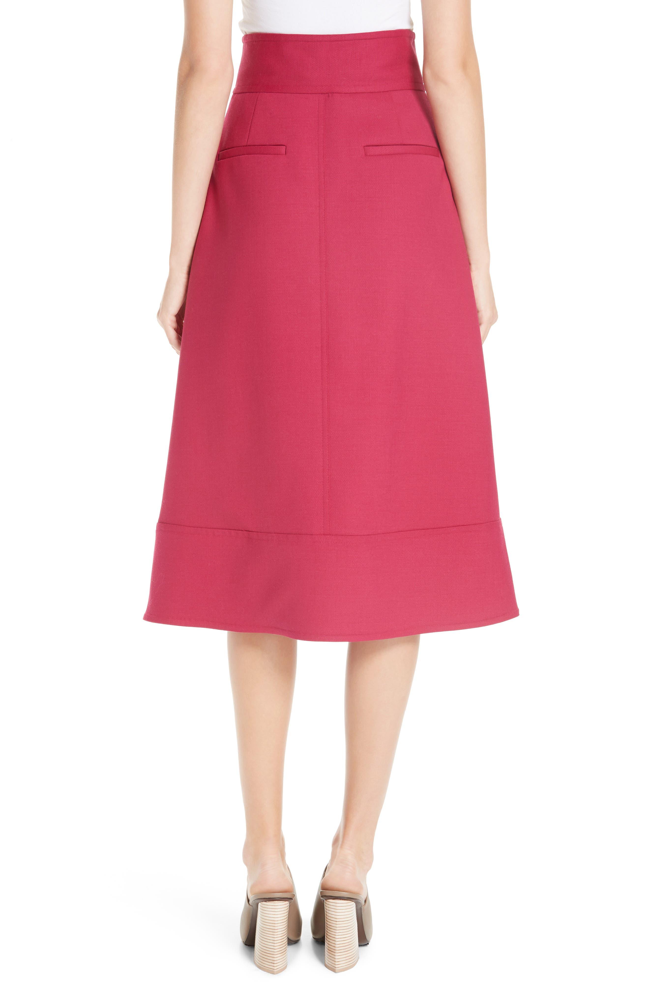 Zip Front A-Line Skirt,                             Alternate thumbnail 2, color,                             FUCHSIA