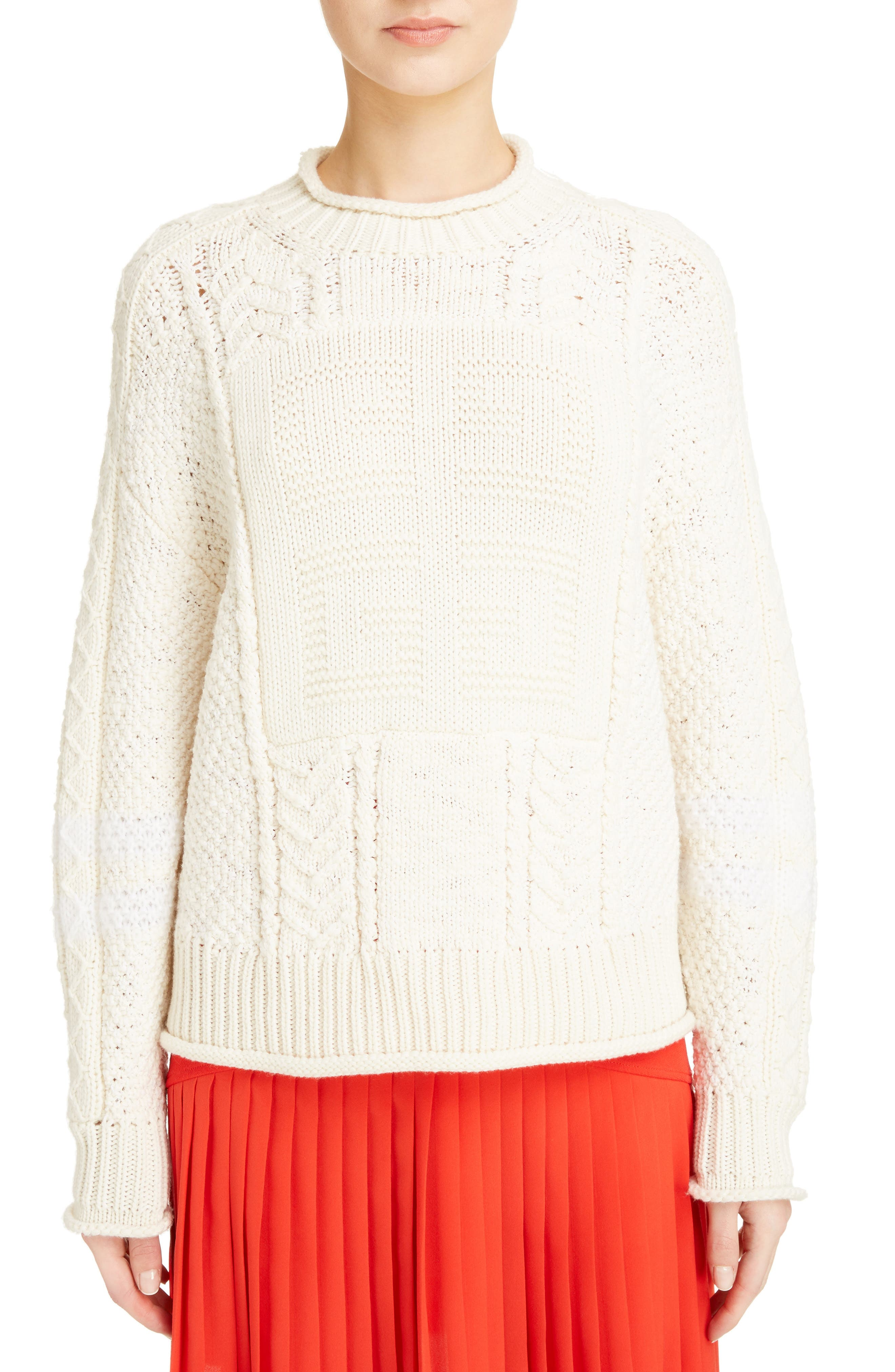 Cable Knit Wool & Cashmere Sweater,                         Main,                         color, WHITE/ ECRU