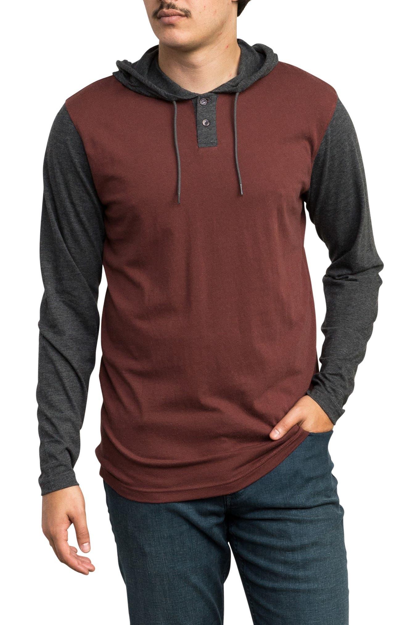Rvca Pick Up Hooded Henley Sweatshirt, Burgundy