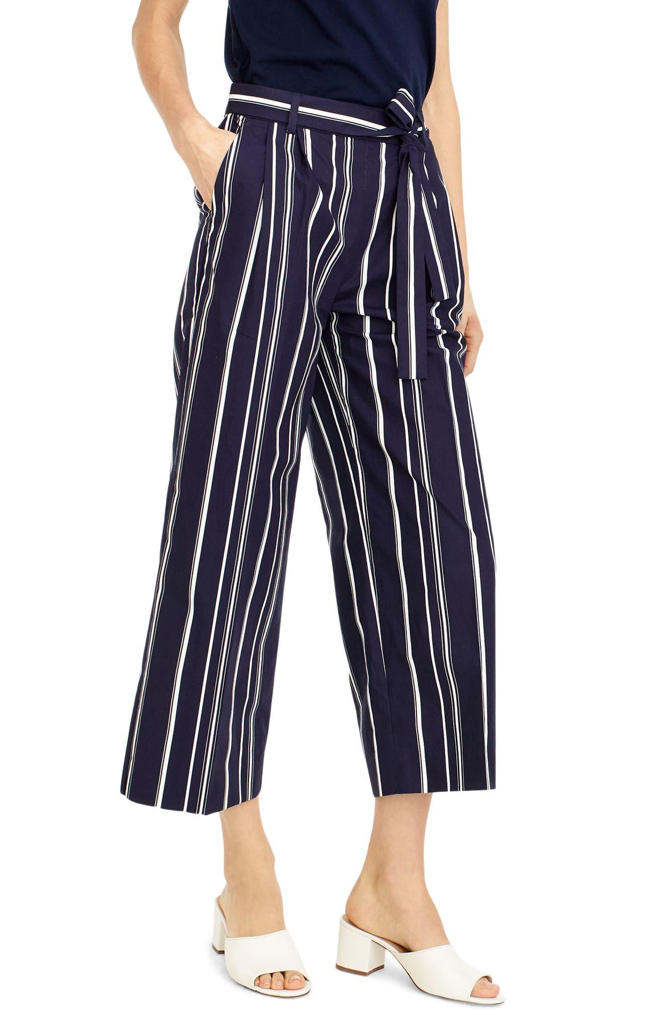 Wide Leg Stripe Cotton Poplin Pants,                             Main thumbnail 1, color,