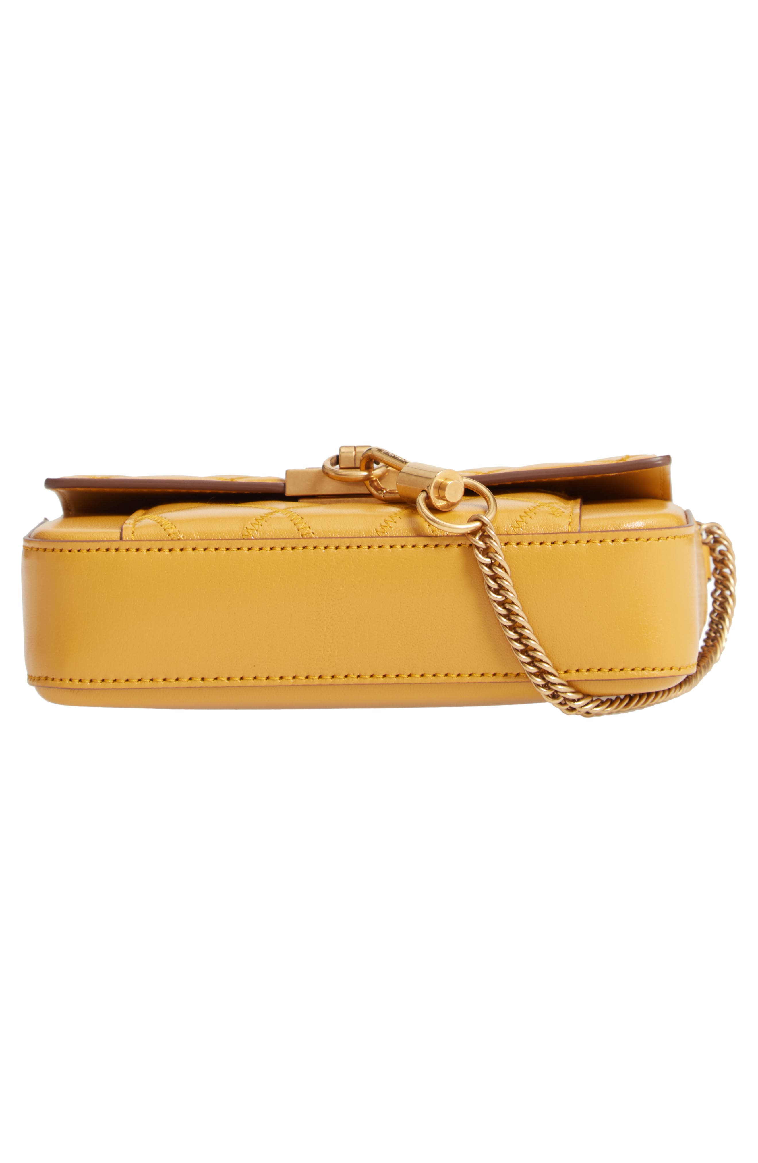 Mini Pocket Quilted Convertible Leather Bag,                             Alternate thumbnail 7, color,                             GOLDEN
