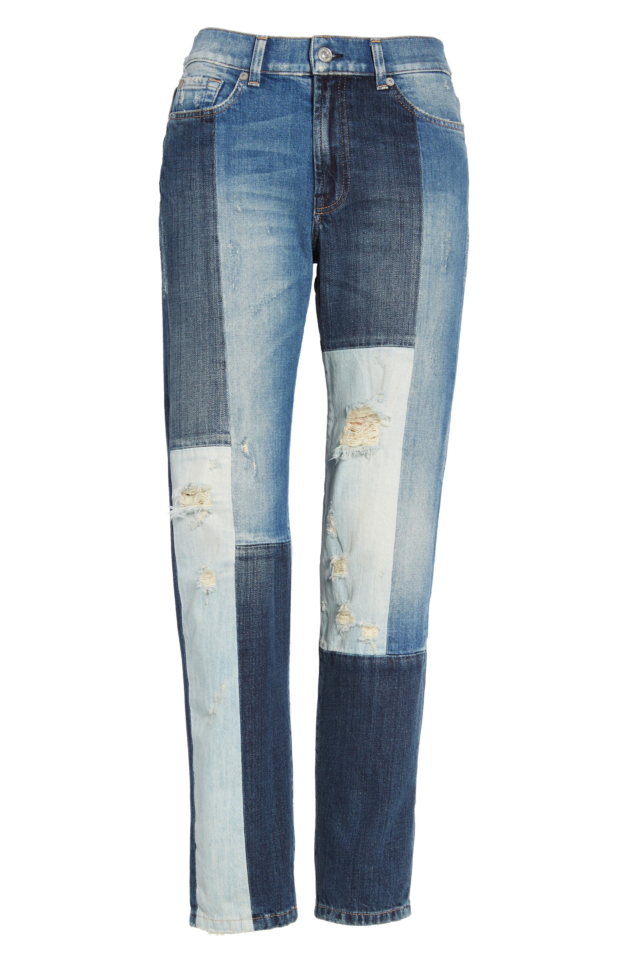 High Waist Patched Slim Jeans,                             Alternate thumbnail 6, color,                             400