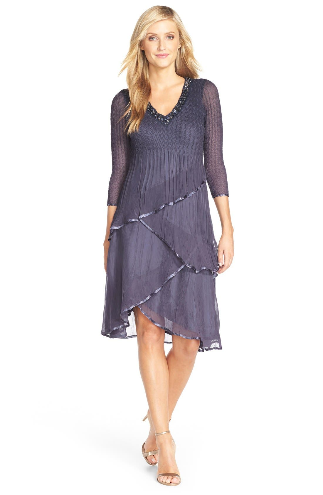 Tiered Chiffon A-Line Dress,                             Alternate thumbnail 7, color,