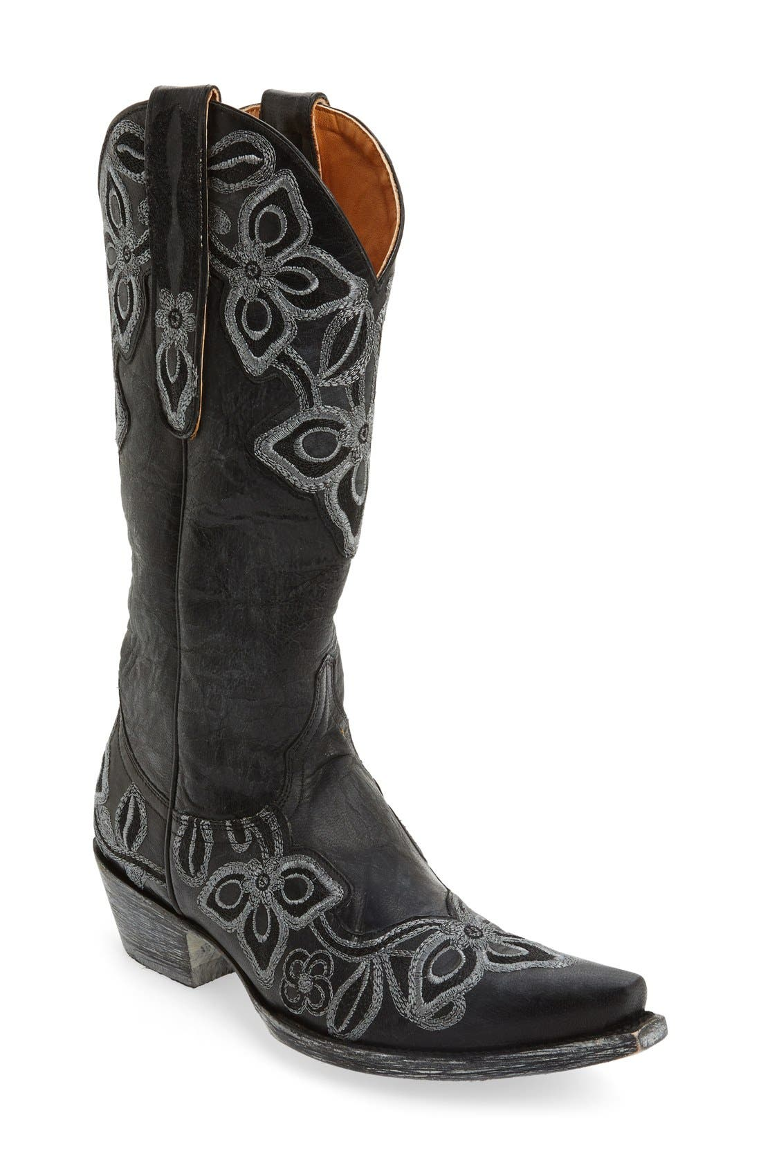 'Marrione' Western Boot,                             Main thumbnail 1, color,                             001