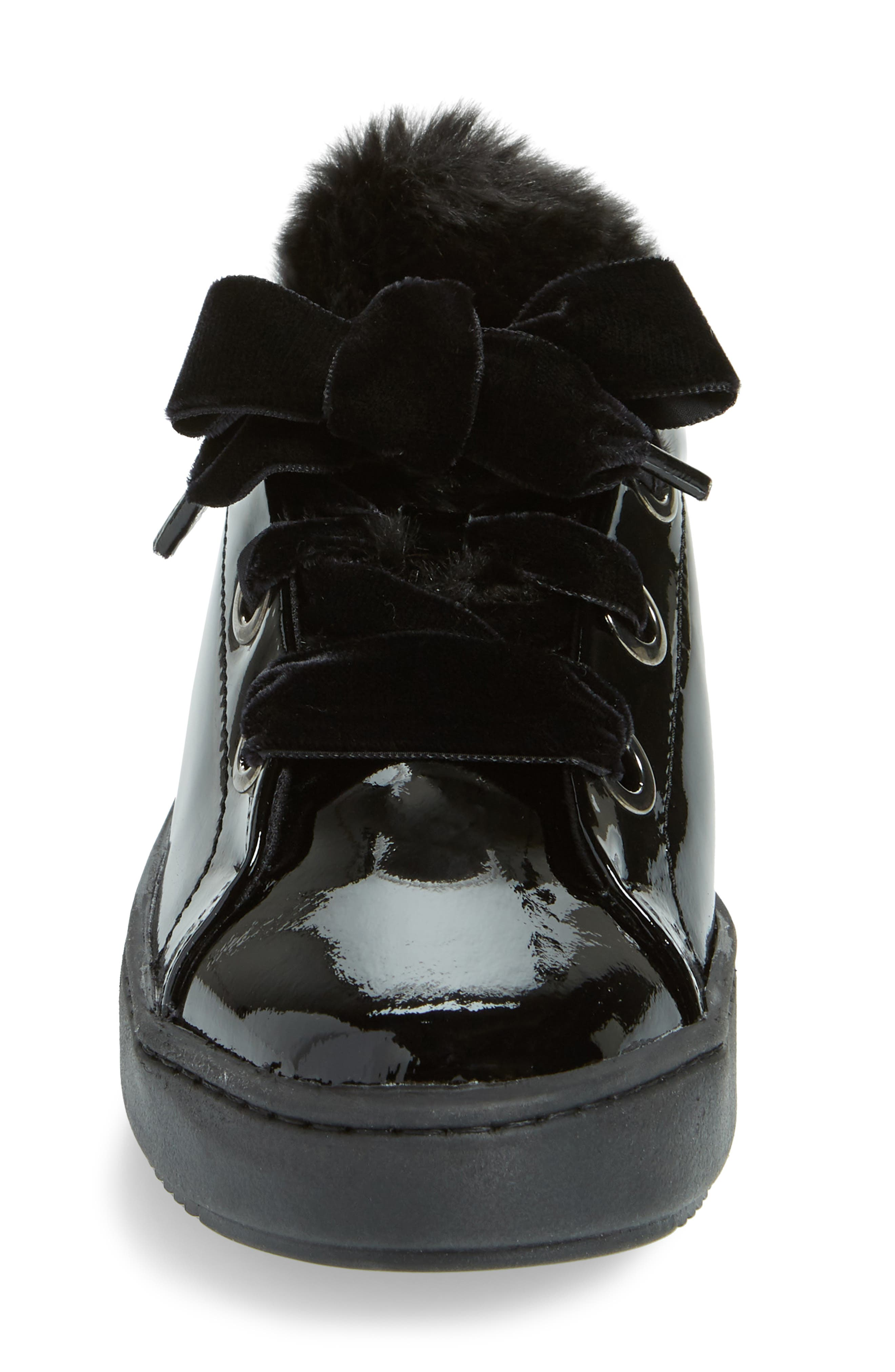 Groove Faux-Shearling Trim Sneaker,                             Alternate thumbnail 4, color,                             BLACK PATENT LEATHER