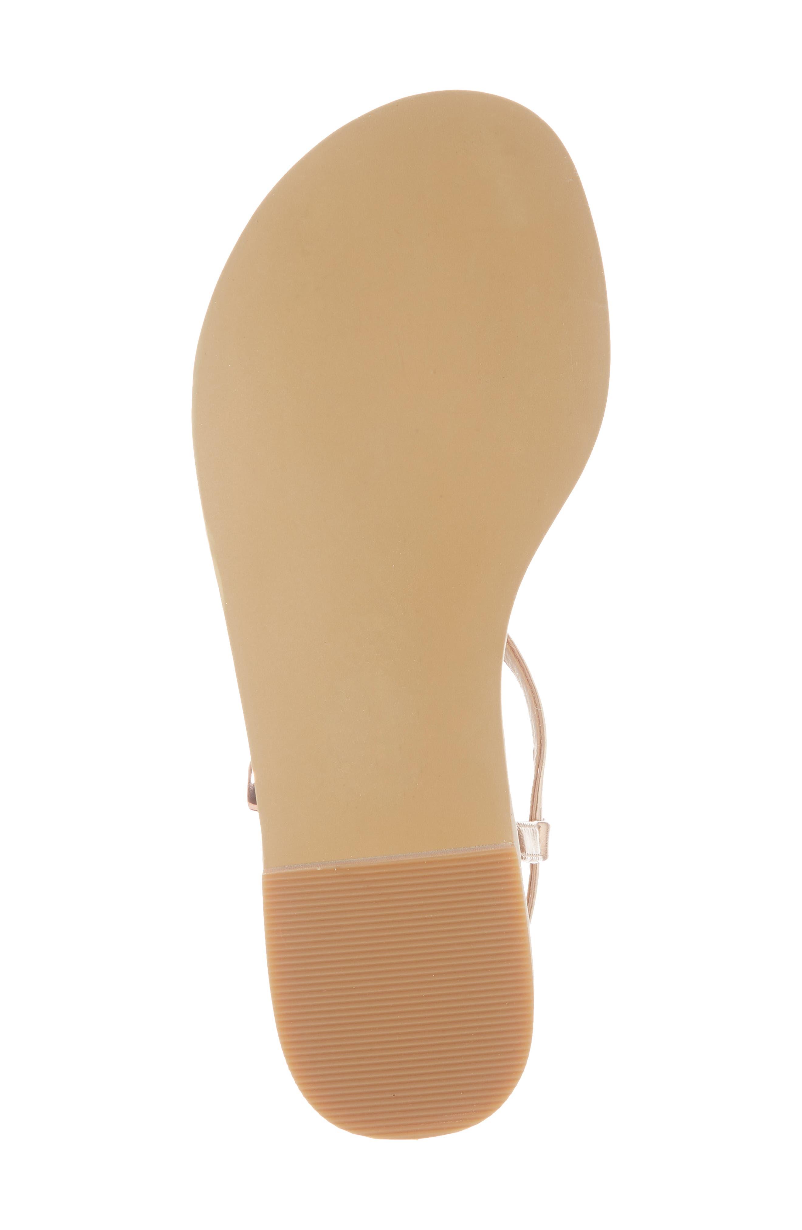 Noe Glitter T-Strap Sandal Sandal,                             Alternate thumbnail 6, color,                             ROSE GOLD FAUX LEA
