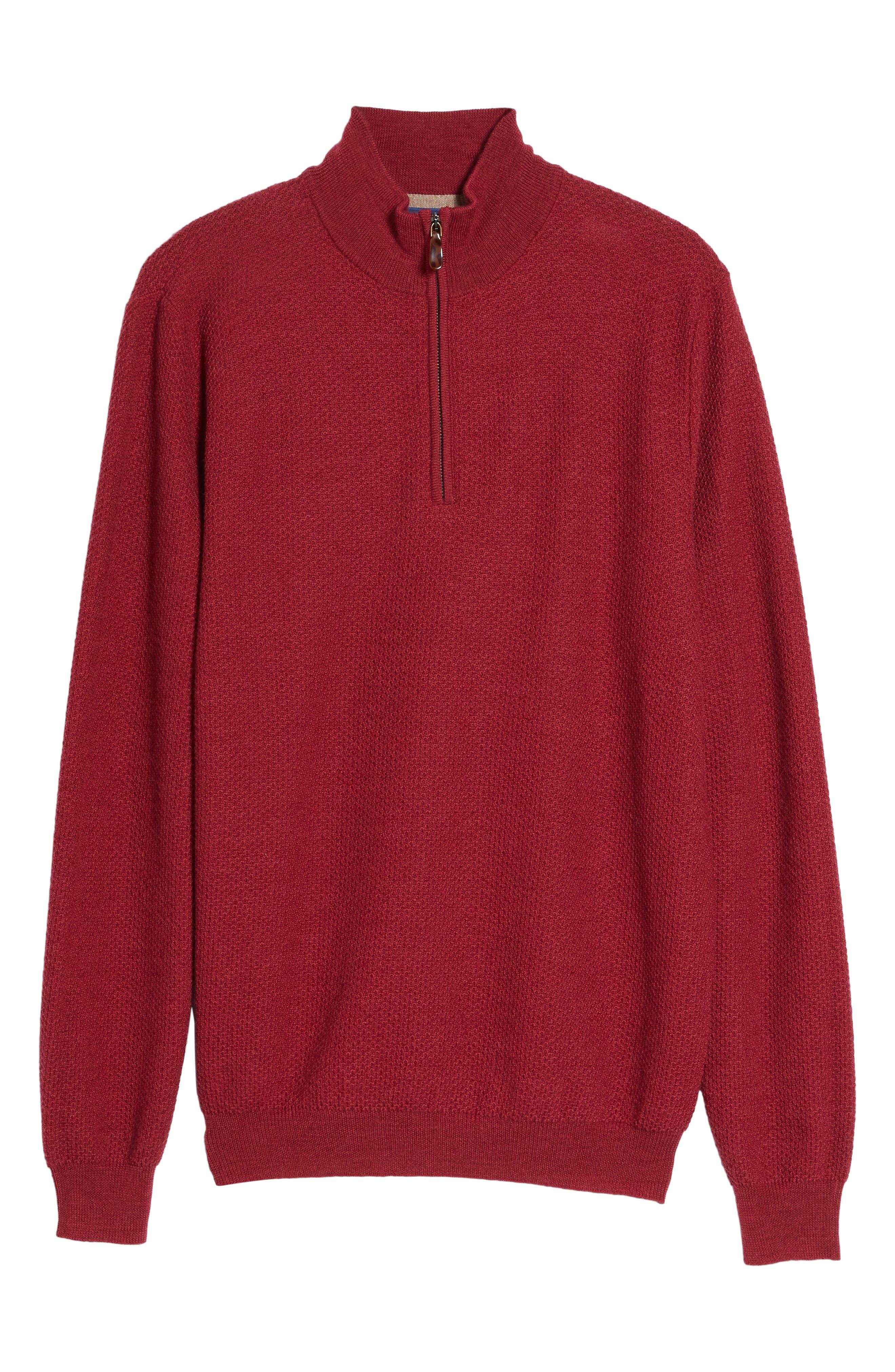 Honeycomb Merino Wool Quarter Zip Pullover,                             Alternate thumbnail 18, color,