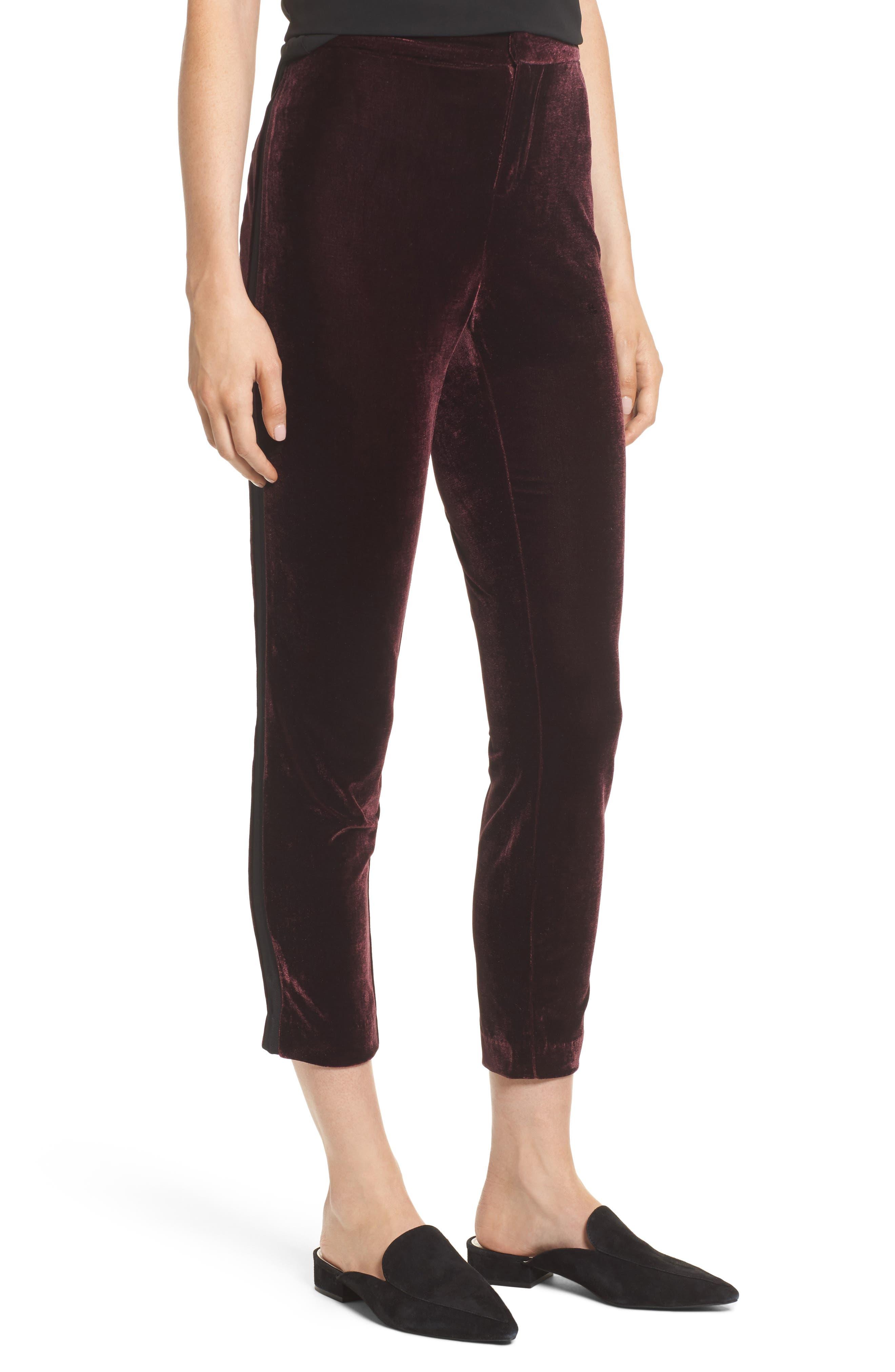 Evalina Velvet Crop Skinny Pants,                             Main thumbnail 2, color,