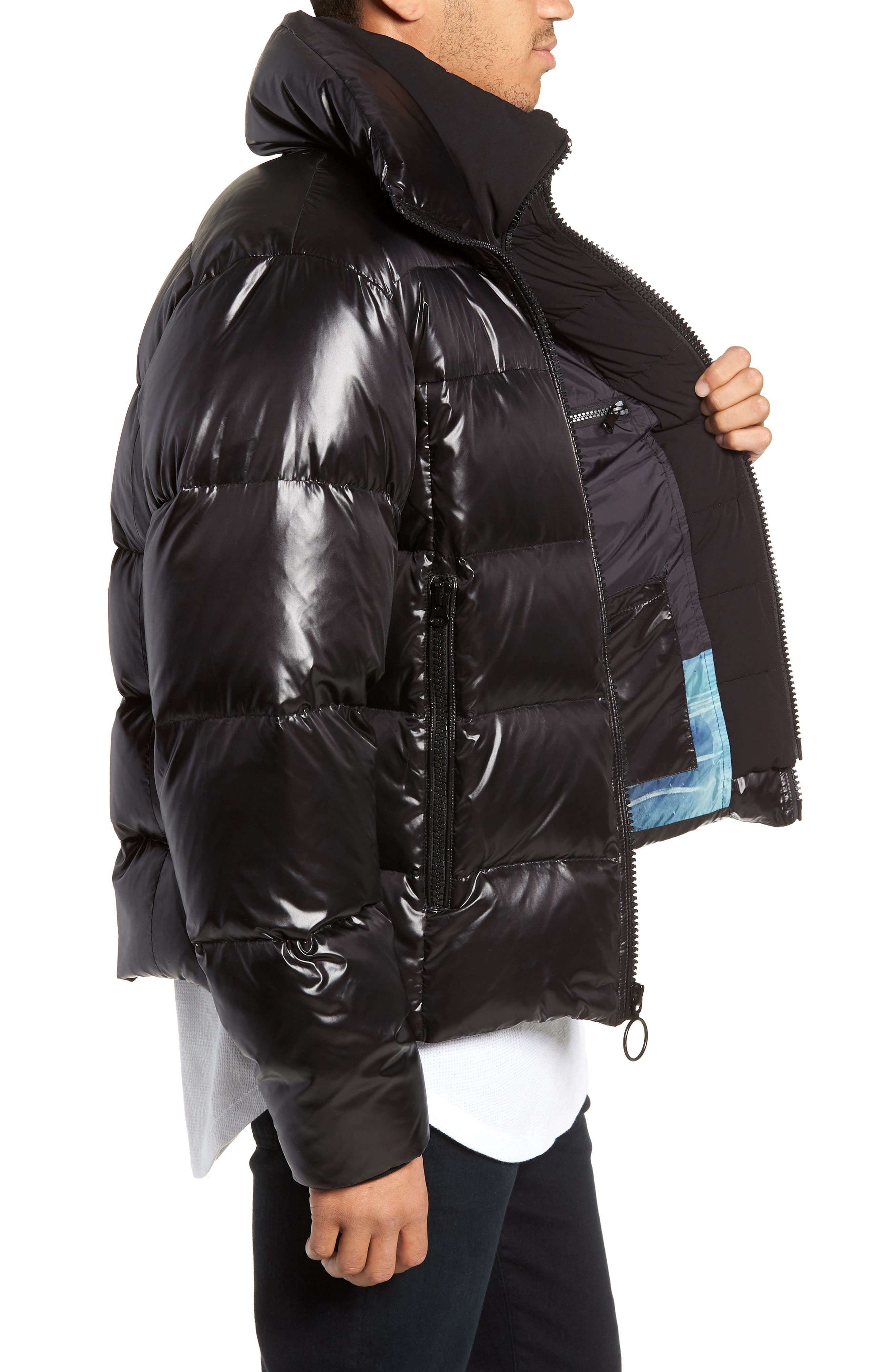 Logan Water Repellent Down & Feather Fill Puffer Jacket,                             Alternate thumbnail 3, color,                             BLACK