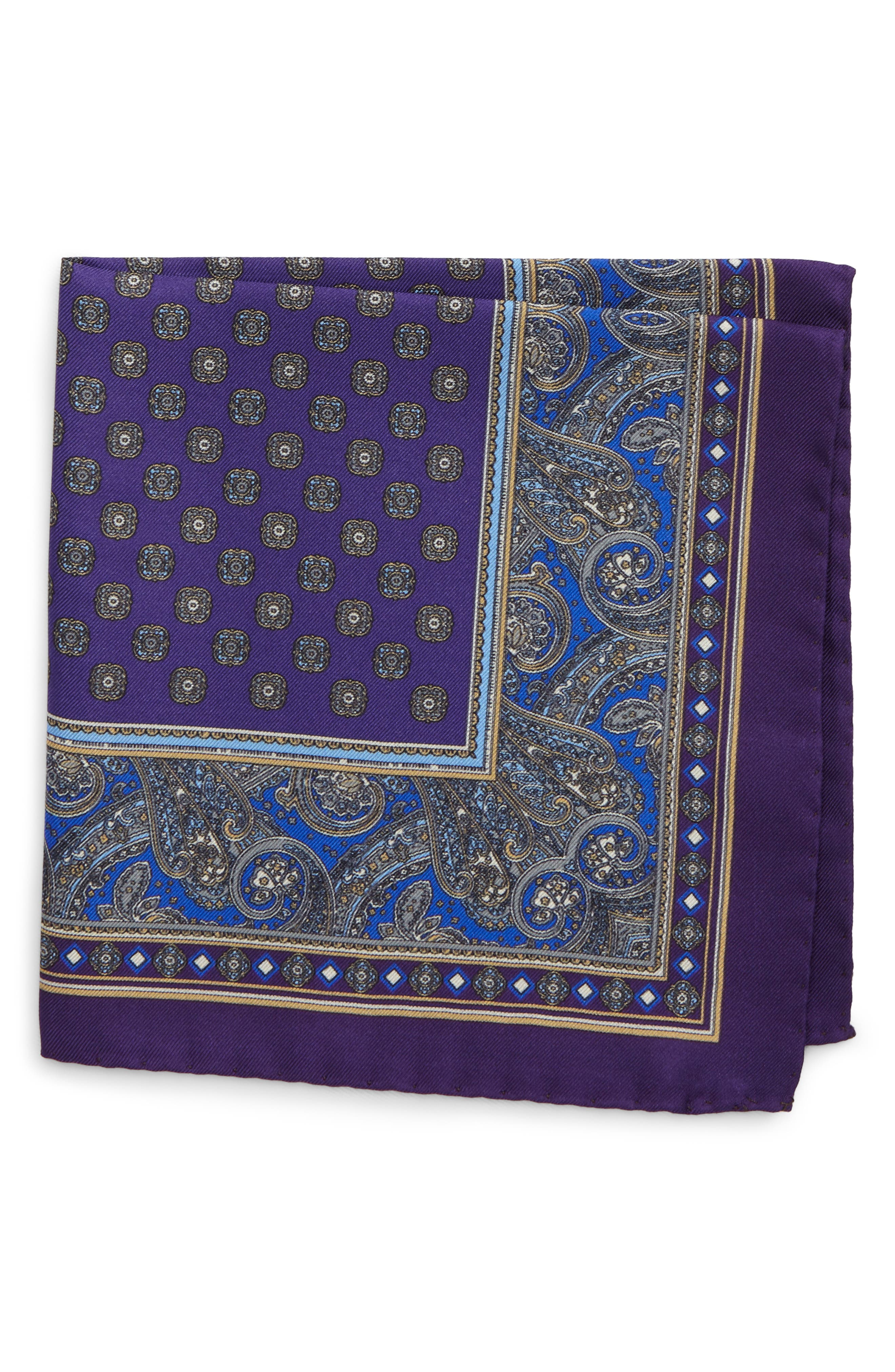 Paisley Silk Pocket Square,                             Main thumbnail 1, color,                             500