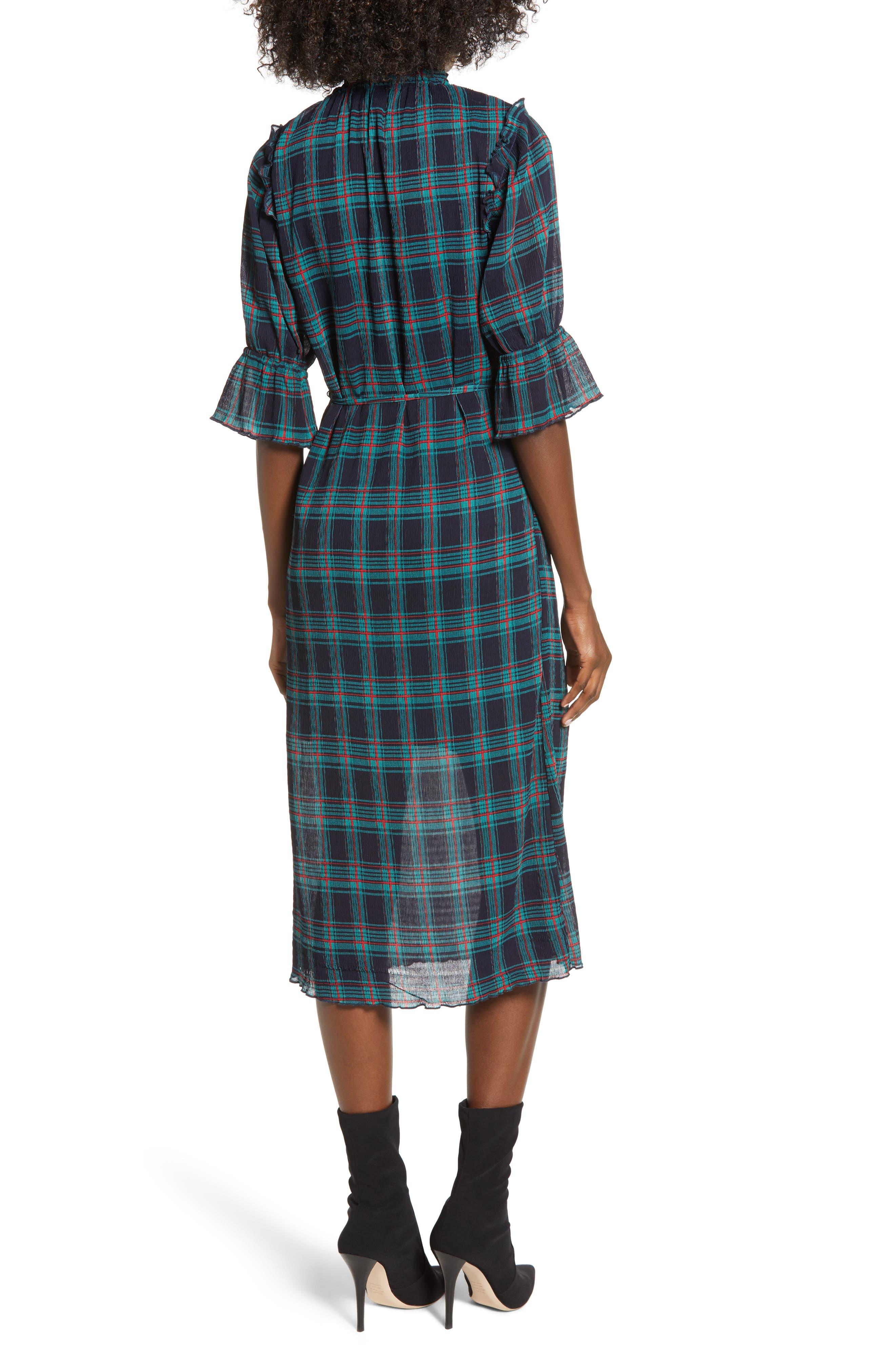 Zone Tartan Midi Dress,                             Alternate thumbnail 2, color,                             400