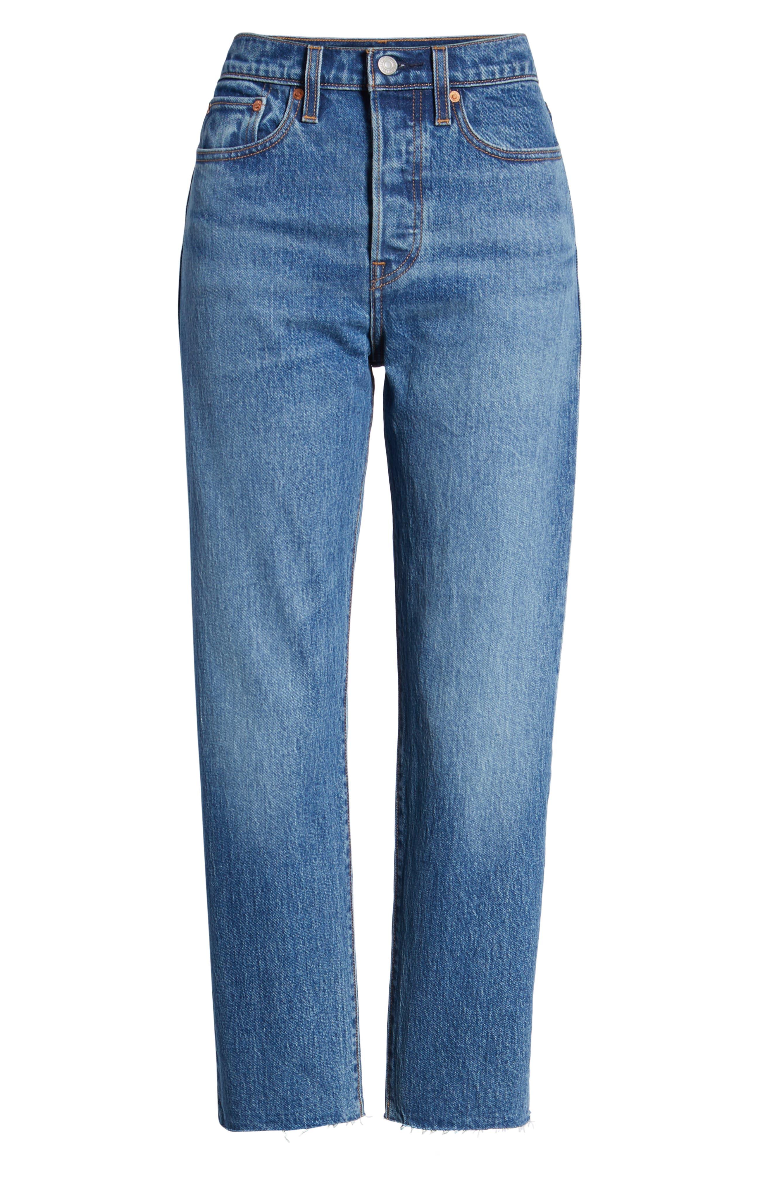 Wedgie Raw Hem High Waist Straight Leg Jeans,                             Alternate thumbnail 7, color,                             LOVE TRIANGLE