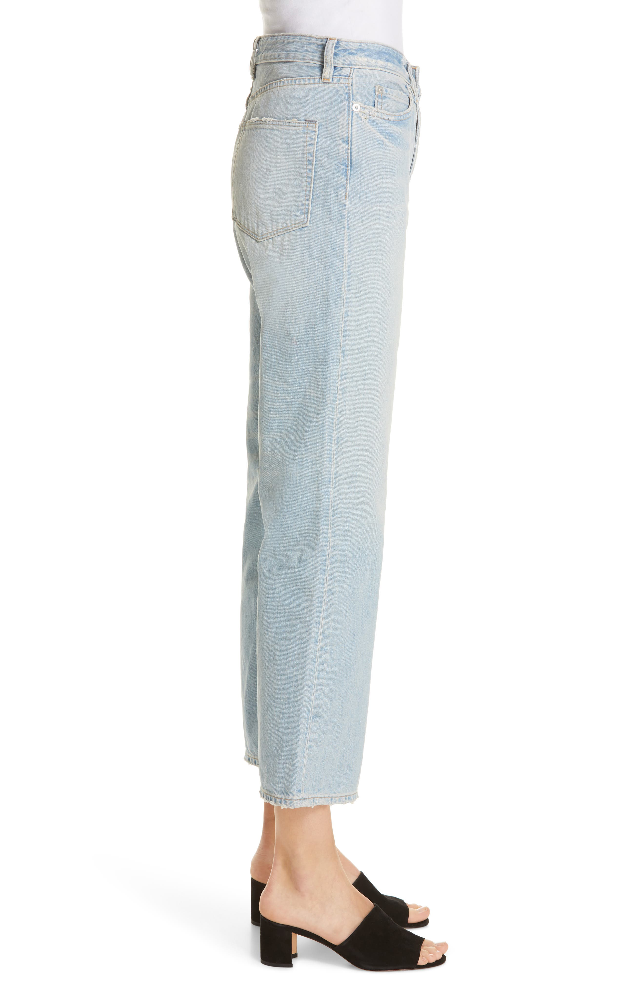 High Waist Crop Jeans,                             Alternate thumbnail 3, color,                             VINTAGE WASH 6