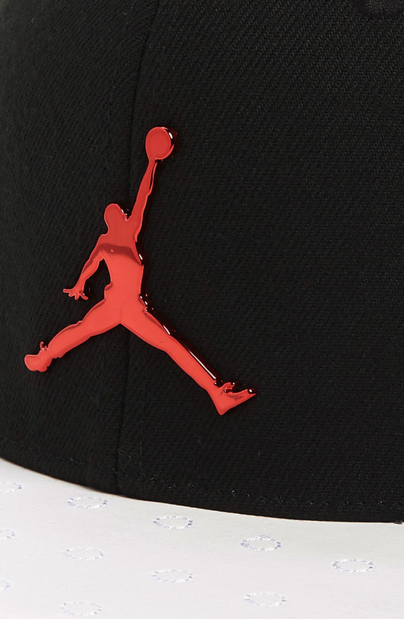 Jordan Retro 13 Snapback Baseball Cap,                             Alternate thumbnail 3, color,                             BLACK/ WHITE