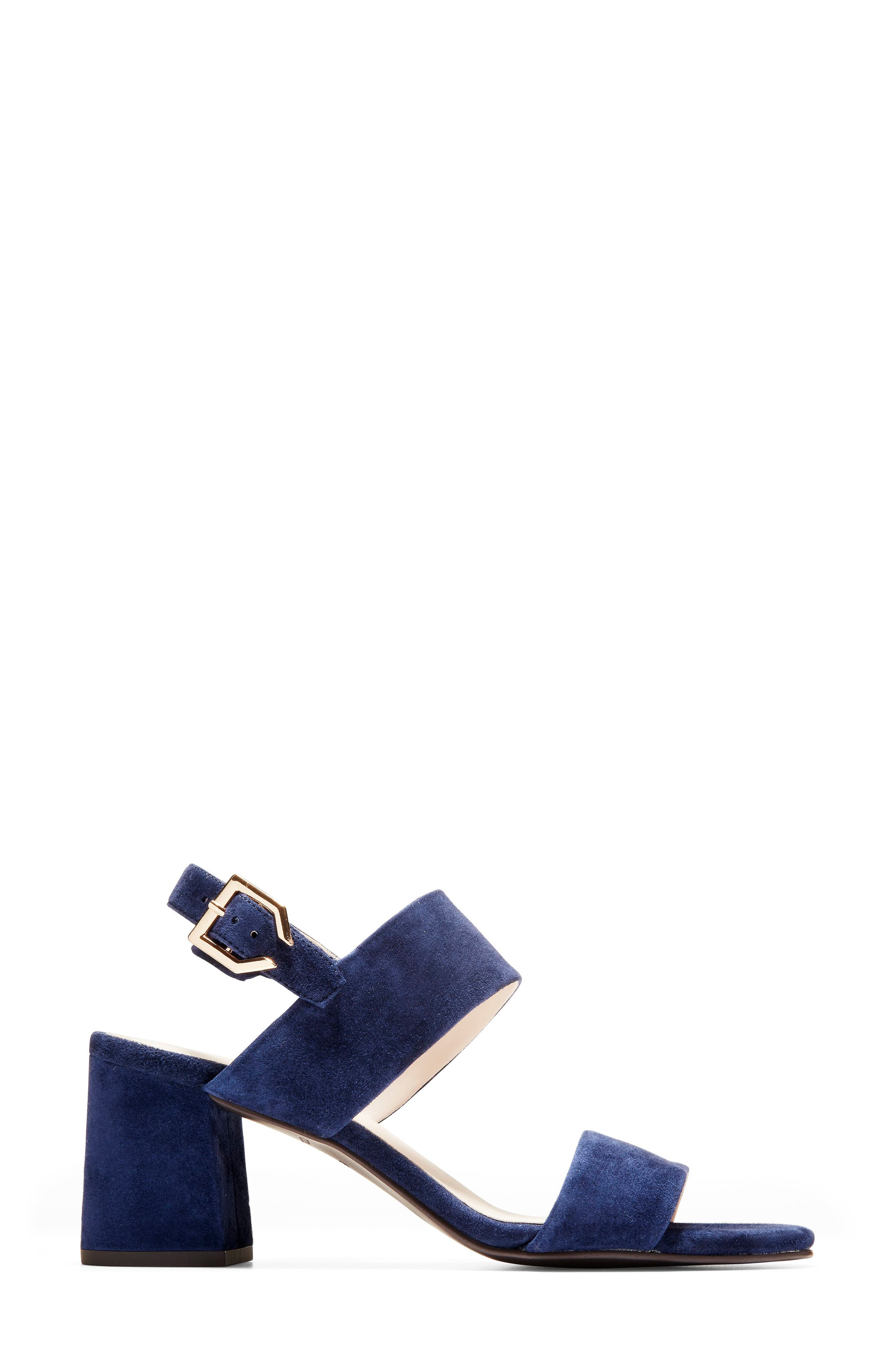 Avani Block Heel Sandal,                             Alternate thumbnail 3, color,                             MARINE BLUE SUEDE