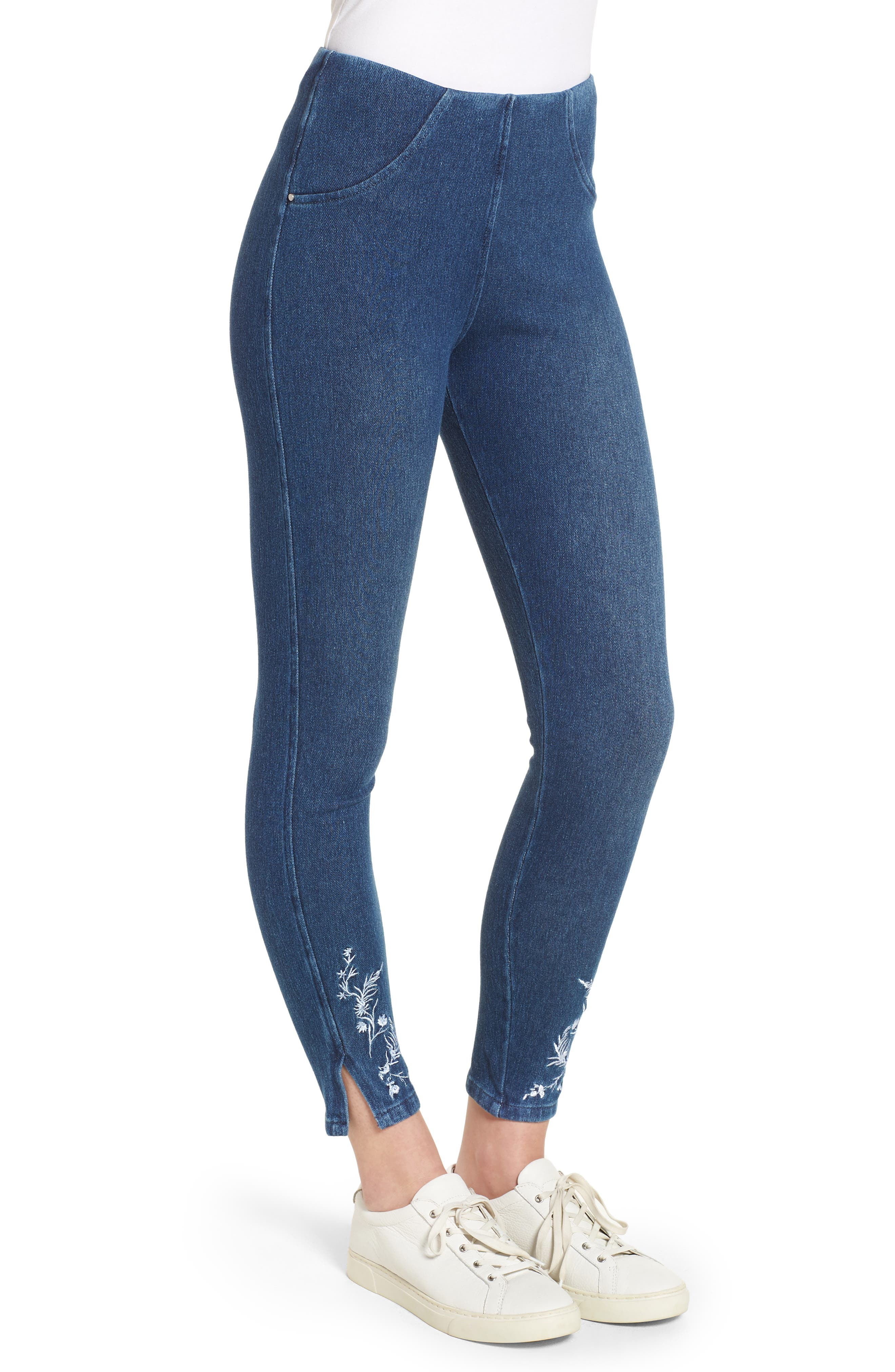Cooper High Waist Denim Leggings,                             Alternate thumbnail 3, color,                             400