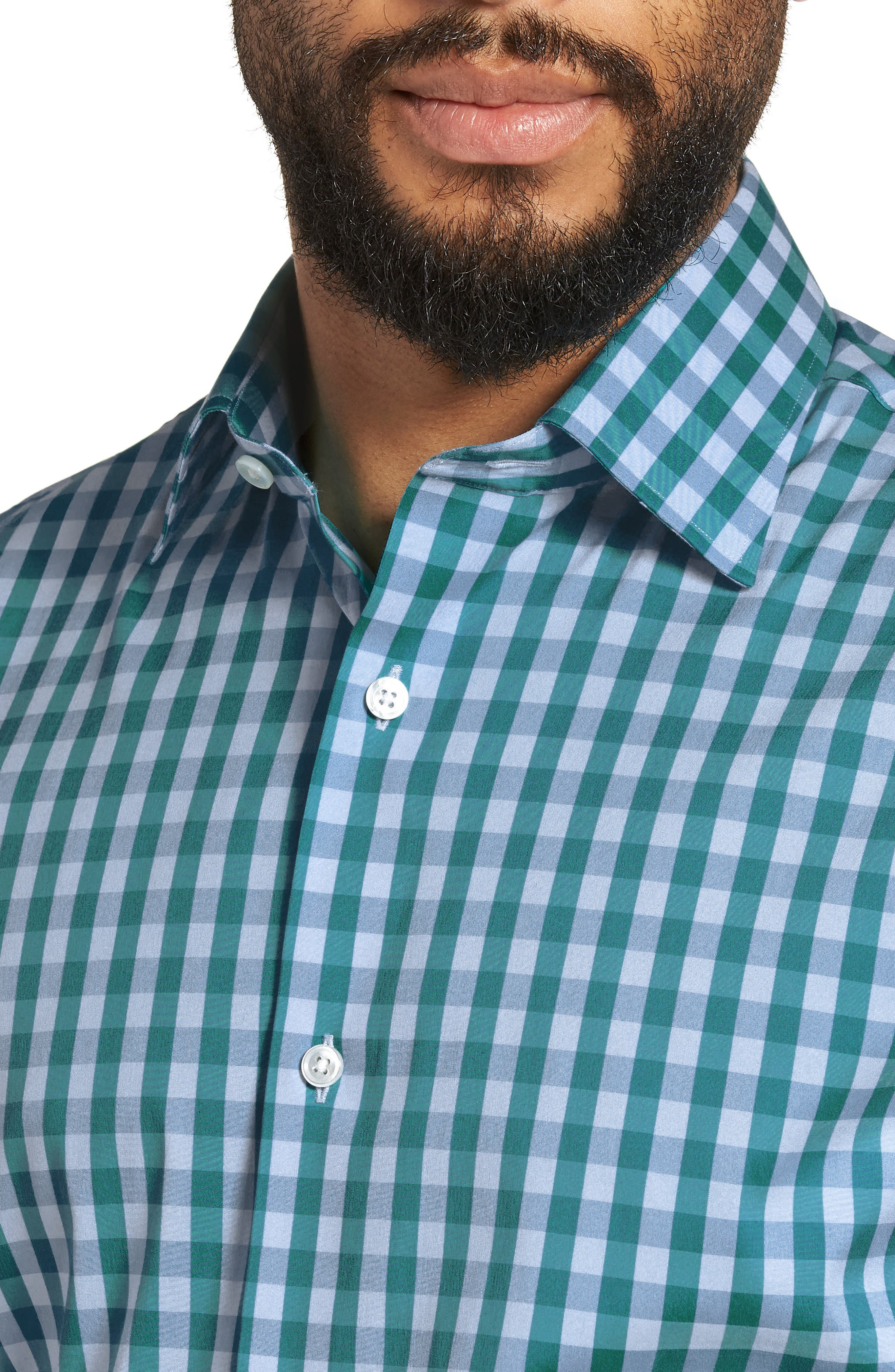 Port Grand Slim Fit Stretch Check Dress Shirt,                             Alternate thumbnail 2, color,                             TEAL