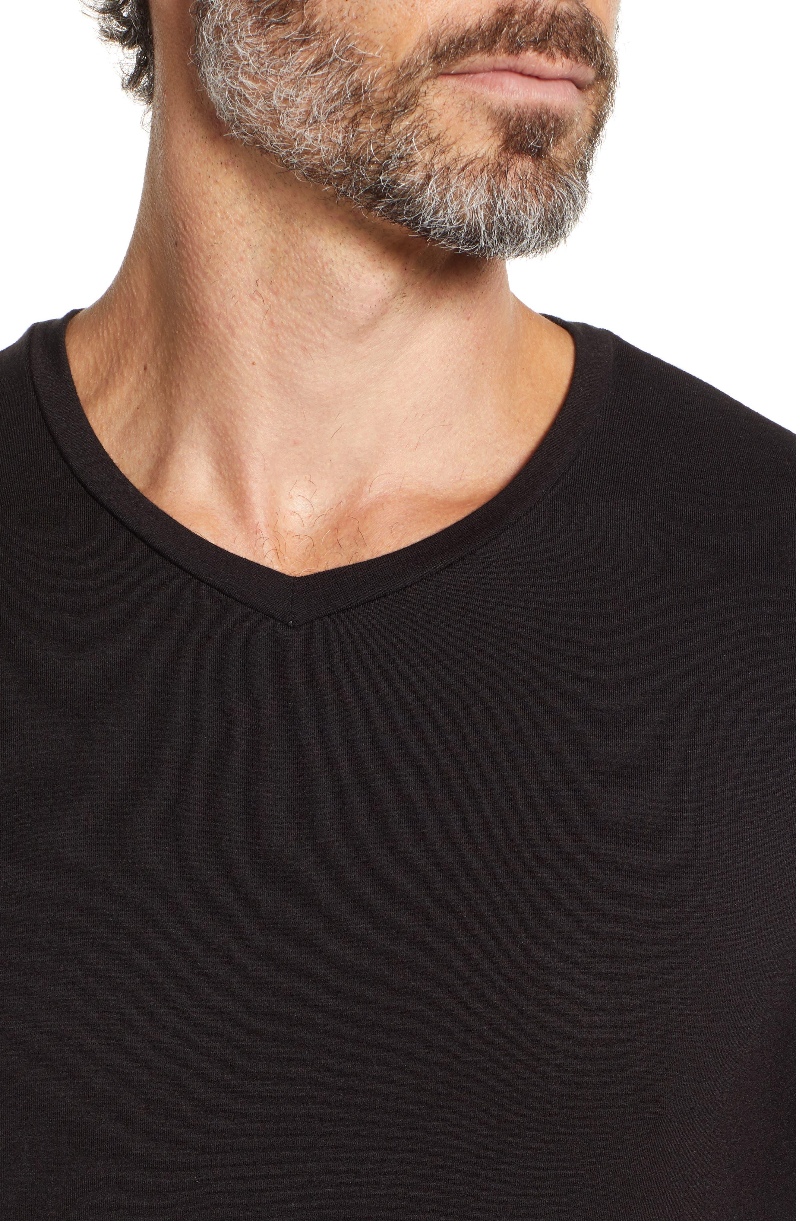 V-Neck Modal T-Shirt,                             Alternate thumbnail 4, color,                             BLACK