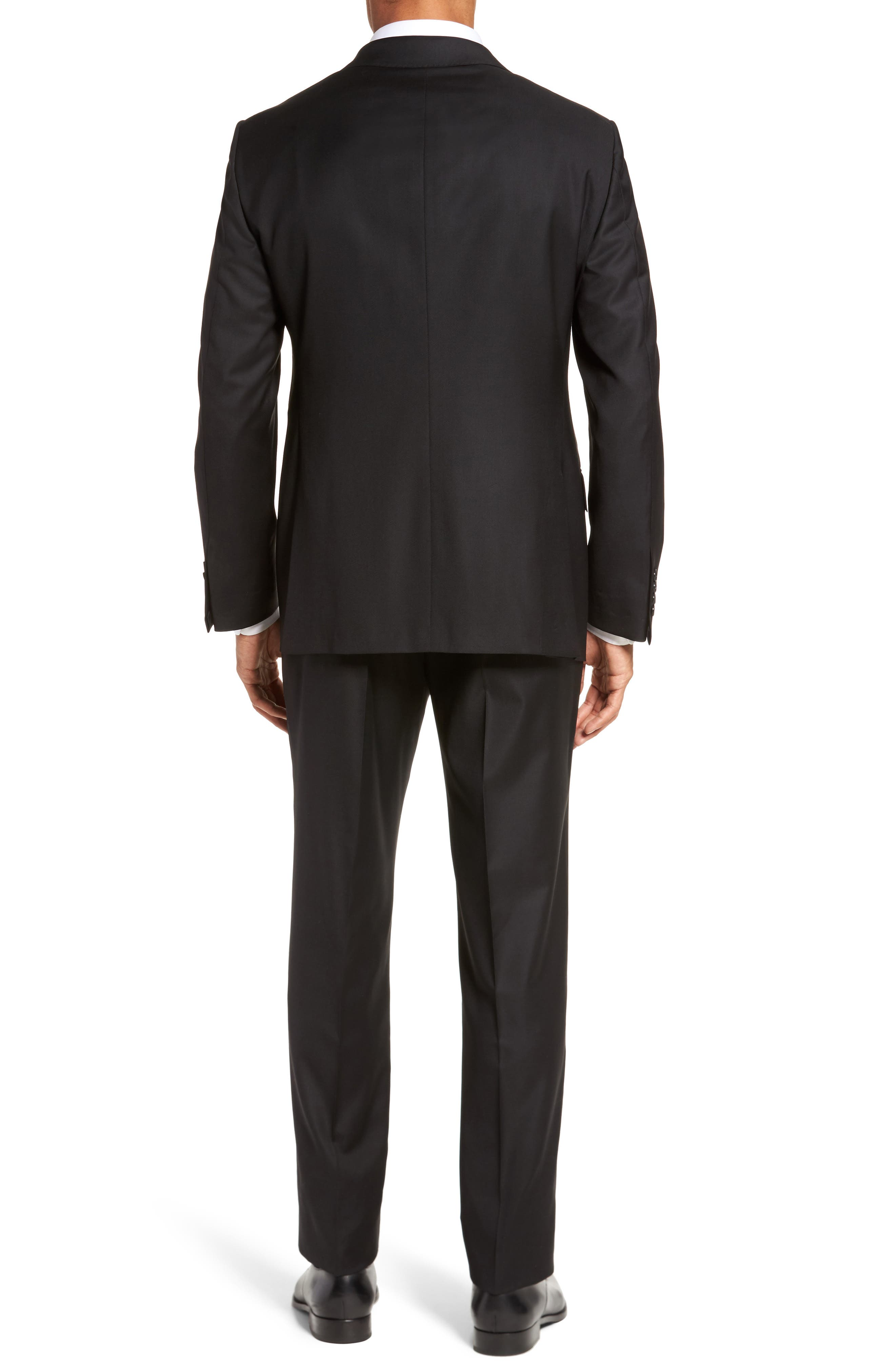 Modern H Fit Solid Loro Piana Wool Suit,                             Alternate thumbnail 2, color,                             BLACK SOLID