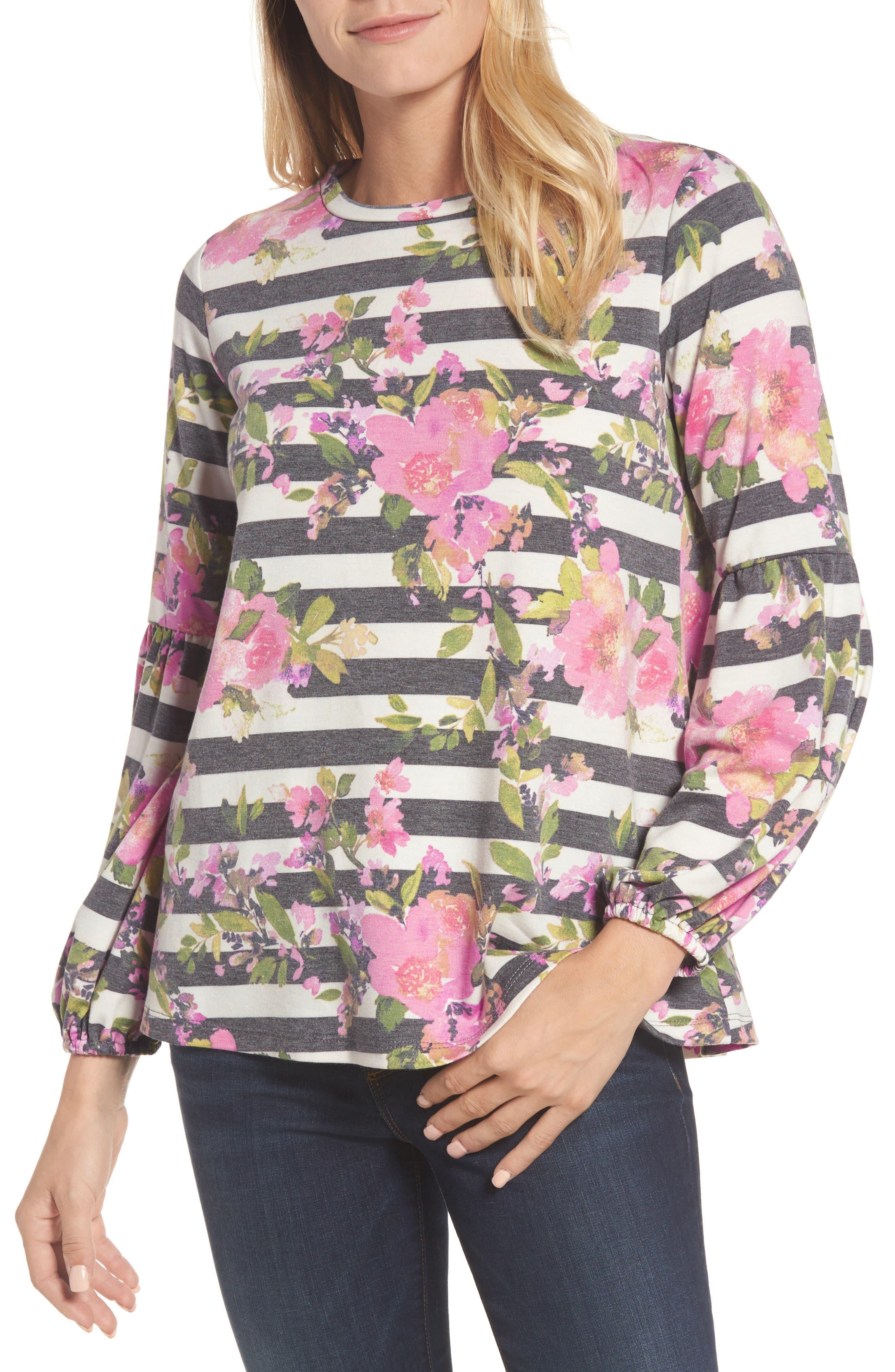 Floral Print Balloon Sleeve Sweatshirt,                         Main,                         color, 002