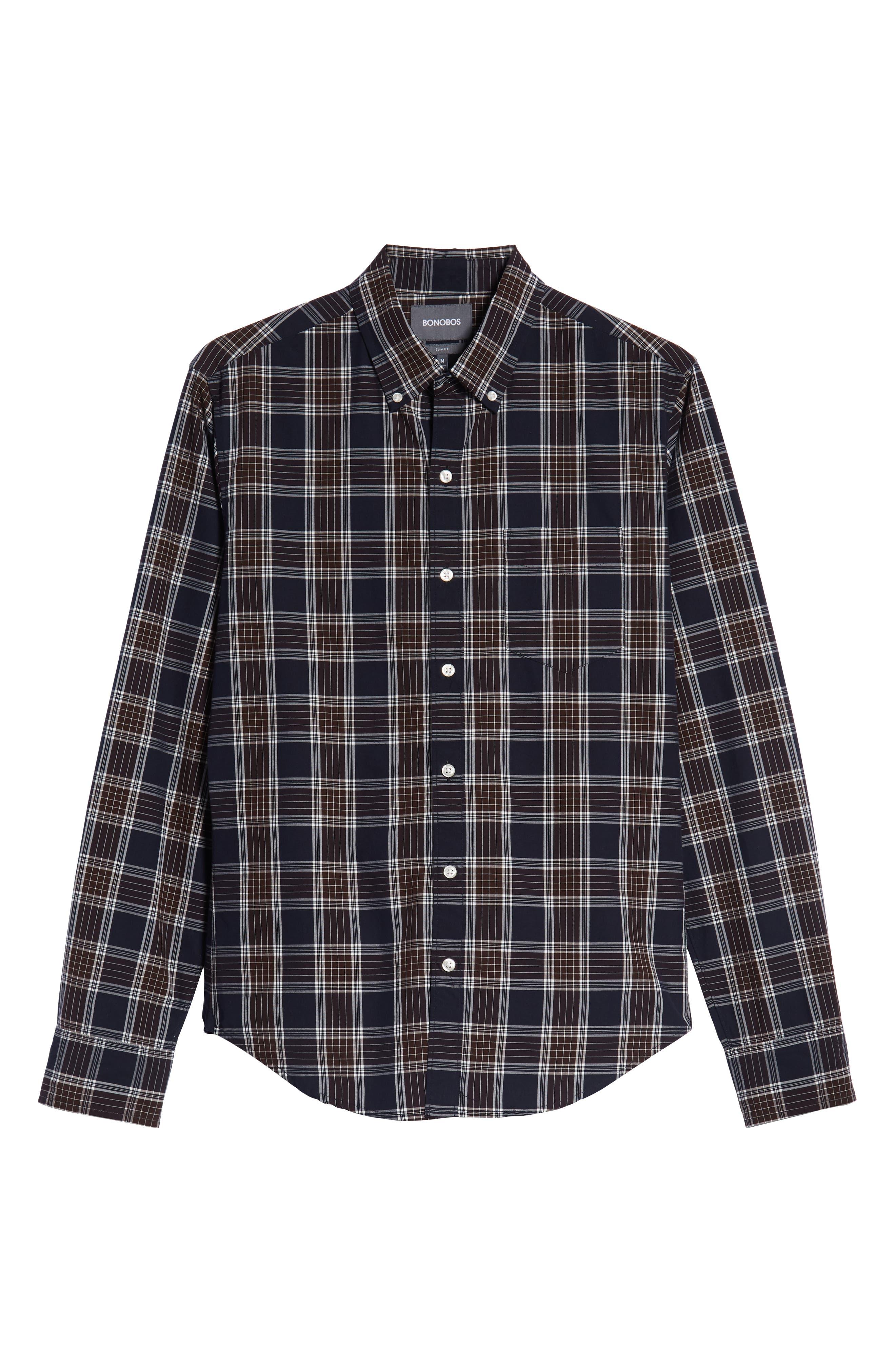 Washed Slim Fit Plaid Sport Shirt,                             Alternate thumbnail 5, color,                             HAWN LAKE PLAID - CEDAR SHAKES