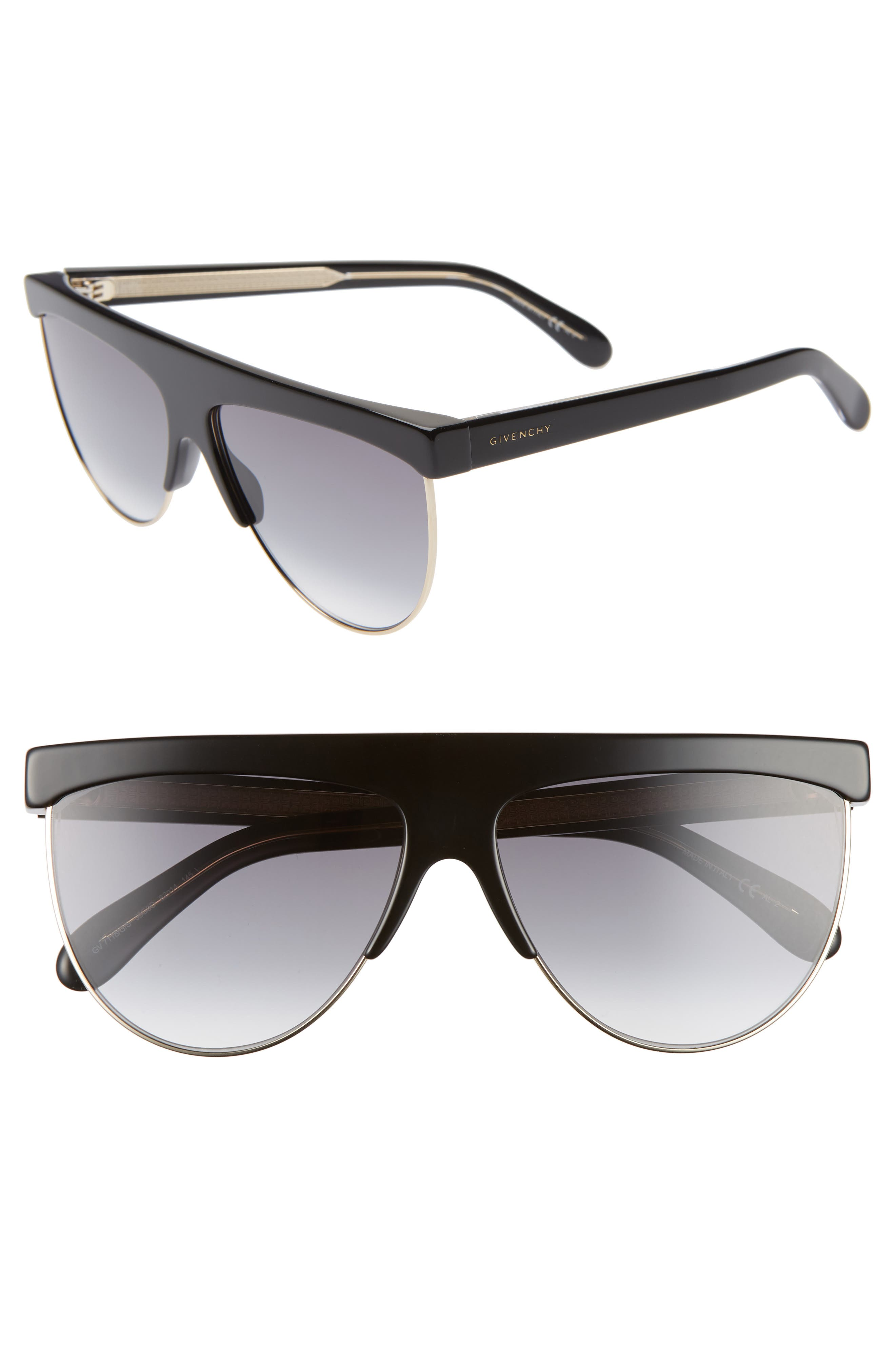 Givenchy 62Mm Oversize Flat Top Sunglasses - Black/ Gold