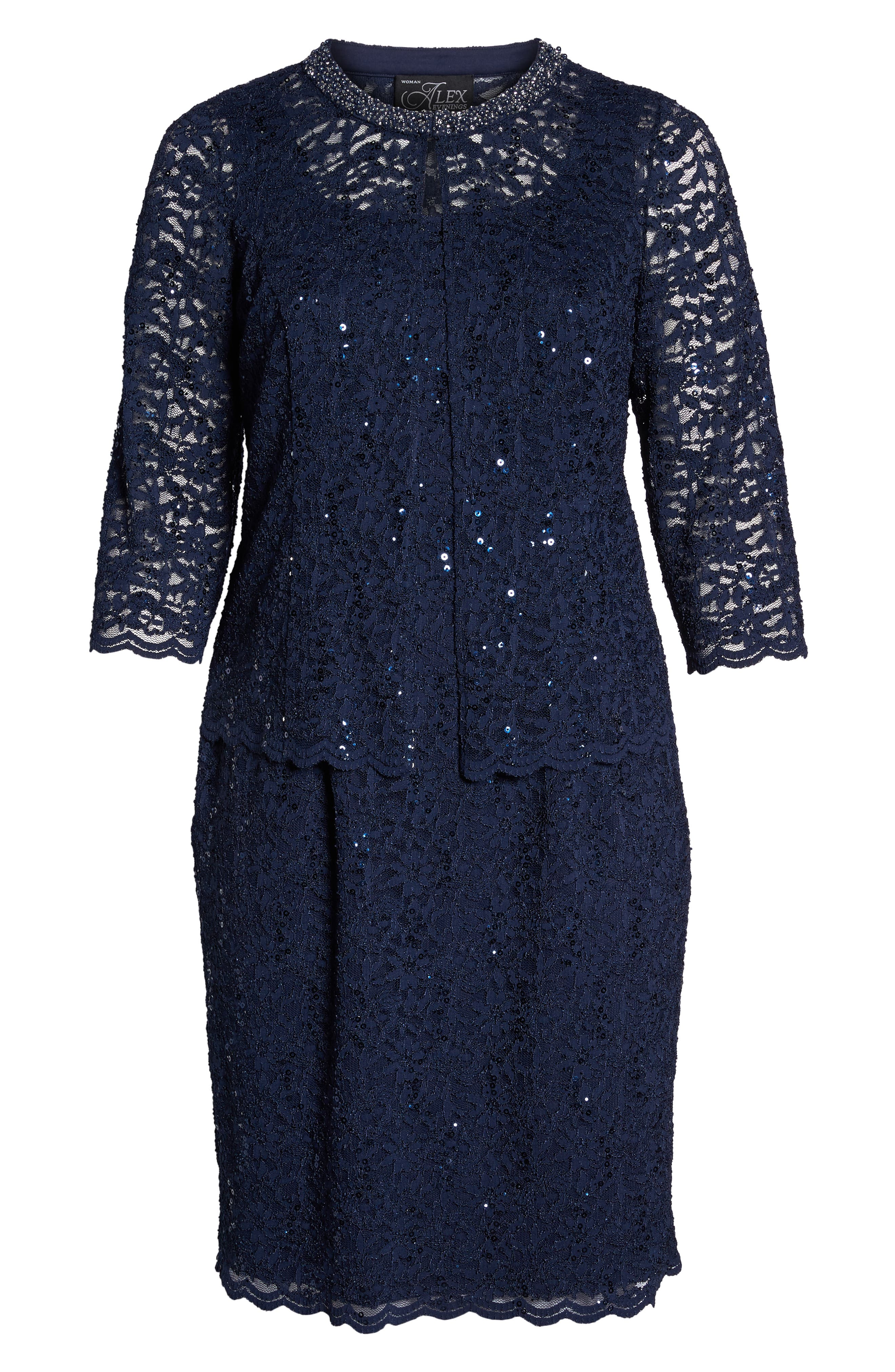 Sequin Shift Dress & Jacket,                             Alternate thumbnail 6, color,                             NAVY
