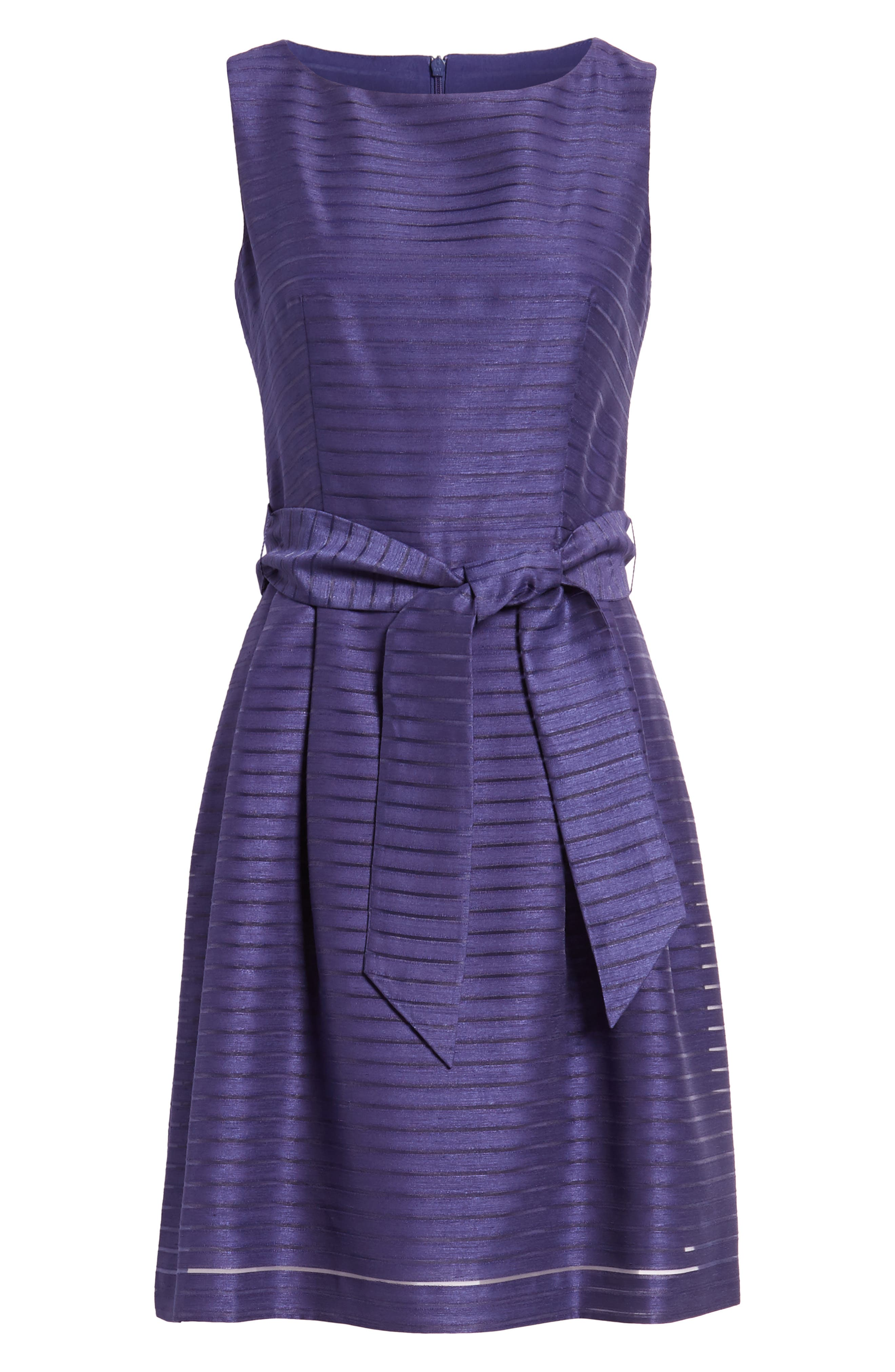 Shadow Stripe Fit & Flare Dress,                             Alternate thumbnail 18, color,