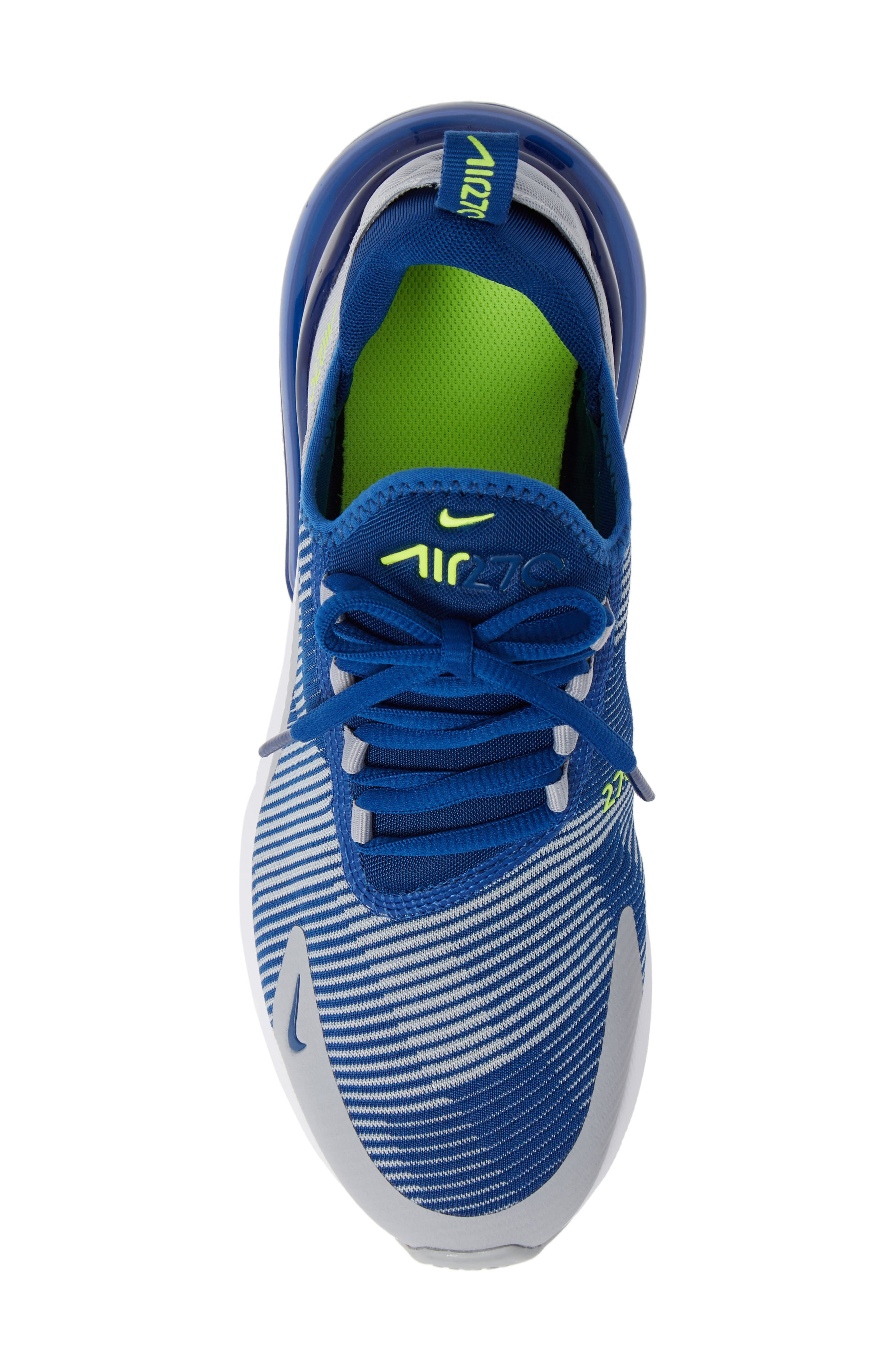 Air Max 270 Sneaker,                             Alternate thumbnail 5, color,                             BLUE/ GREY/ VOLT/ WHITE