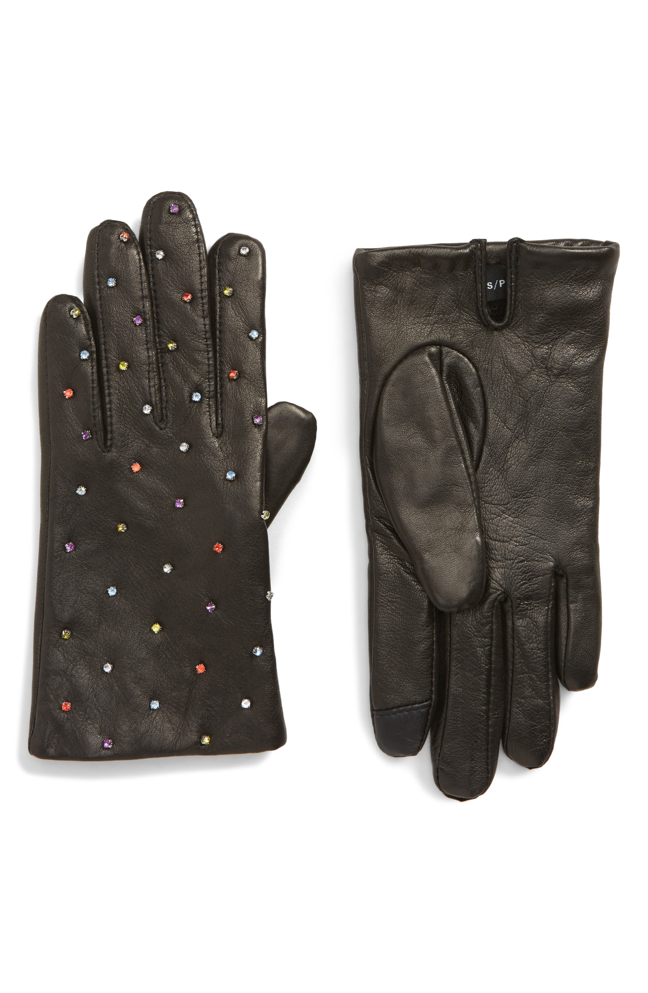 Echo Rani Crystal Embellished Leather Touchscreen Gloves, Black