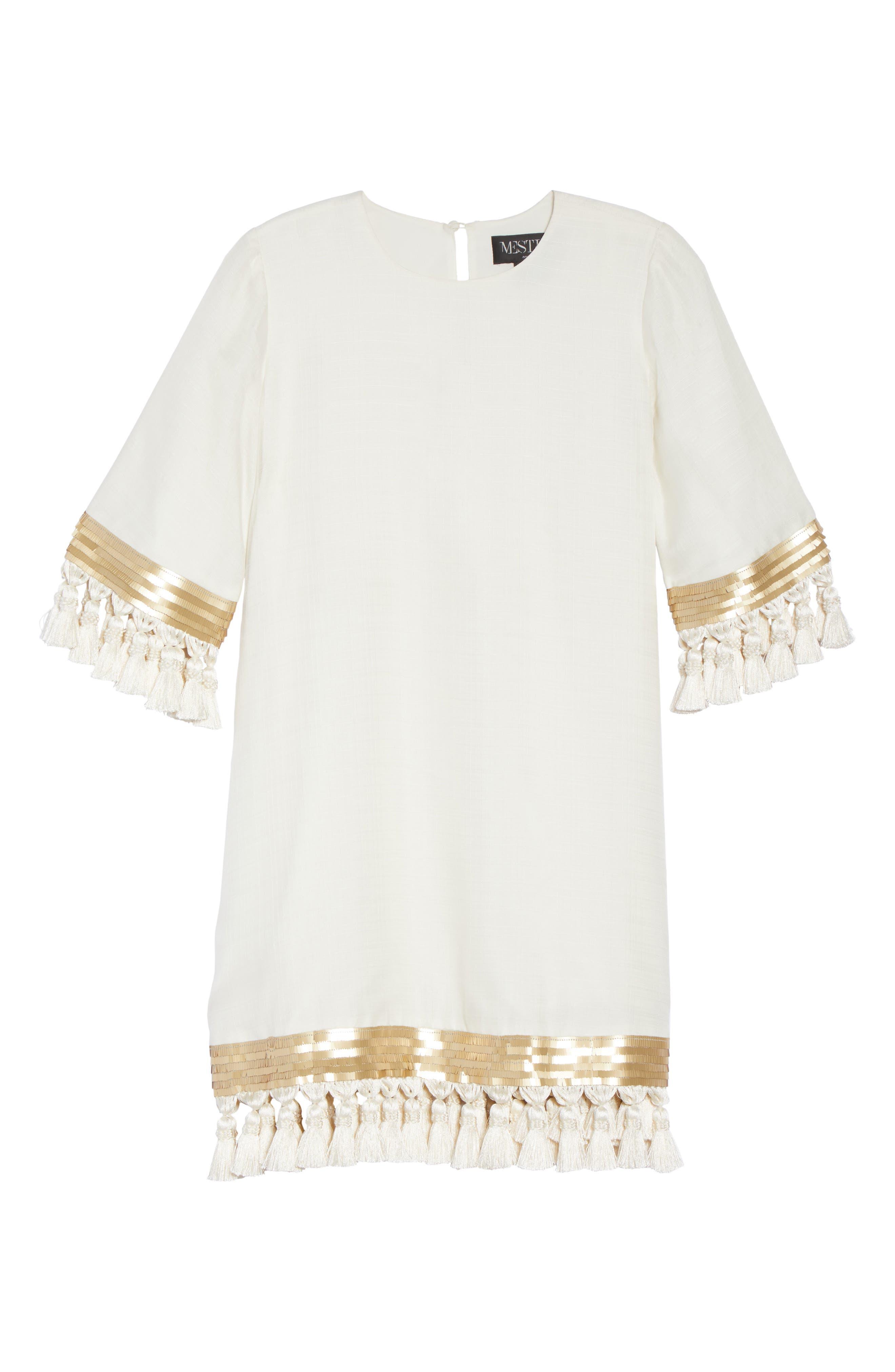 Mestiza Shimmy Shimmy Silk Tassel Shift Dress,                             Alternate thumbnail 6, color,                             901