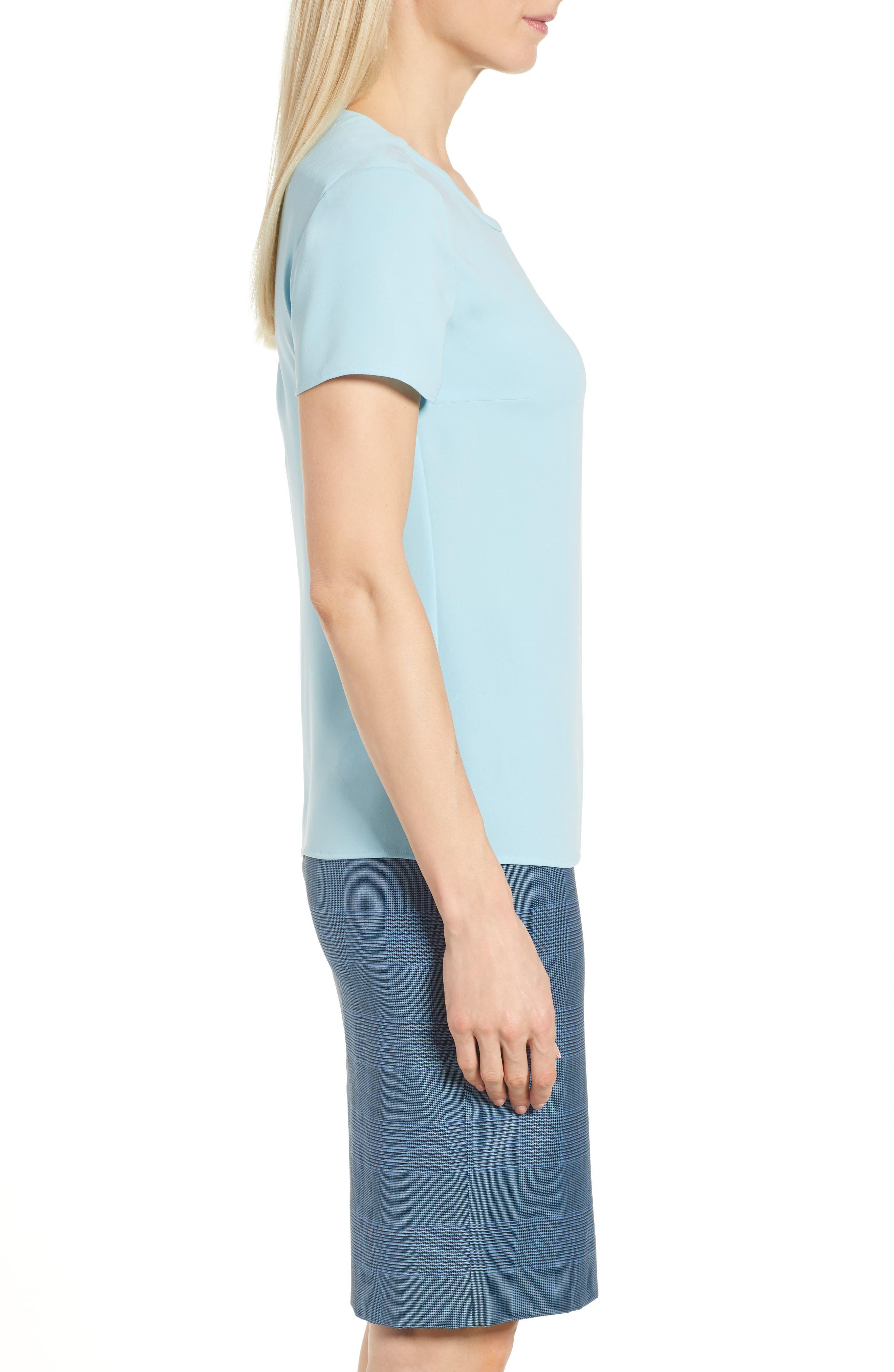Ilyna Crepe Short Sleeve Top,                             Alternate thumbnail 3, color,                             LAGOON BLUE