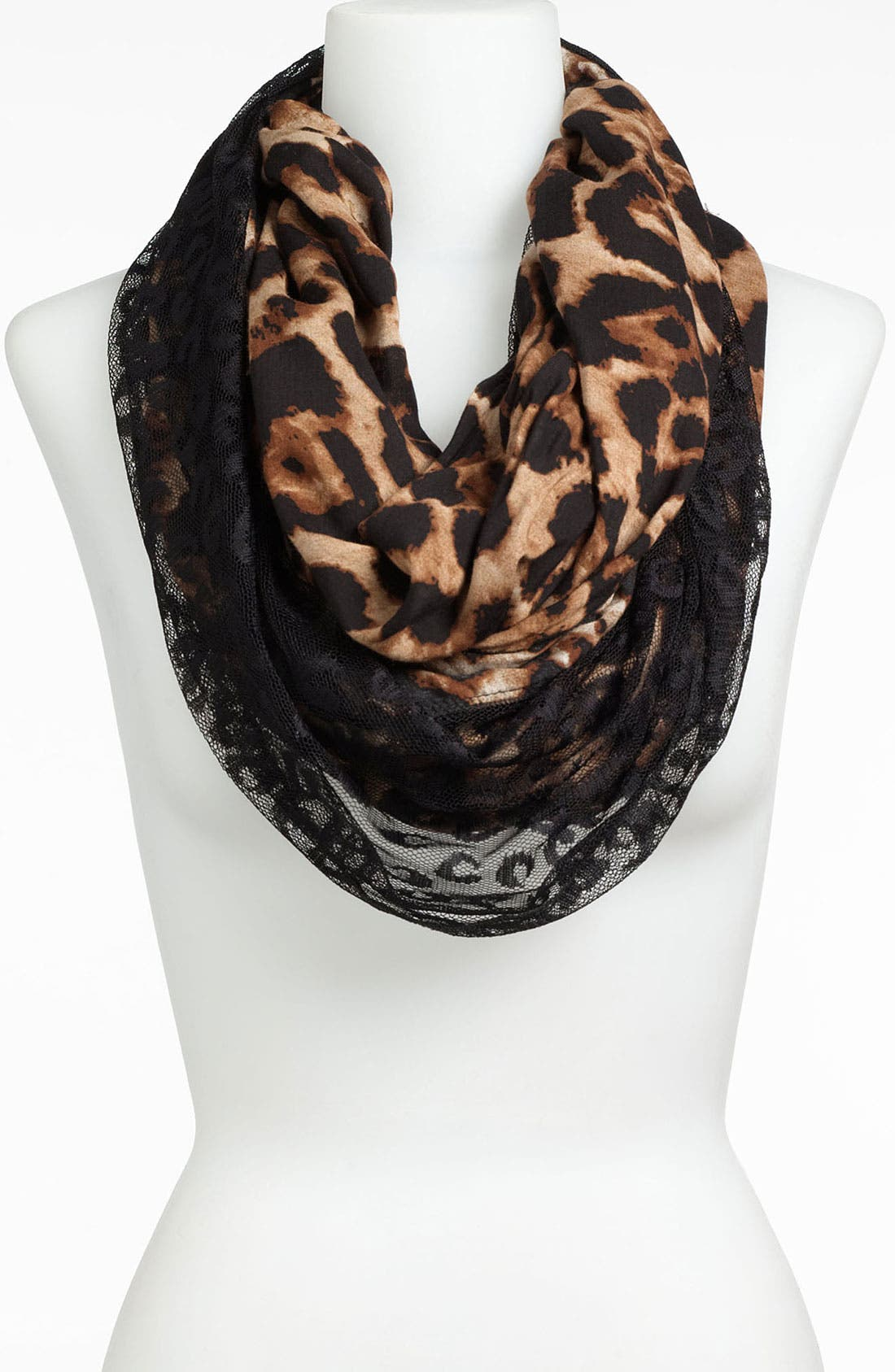 LULU,                             Animal Print & Lace Infinity Scarf,                             Alternate thumbnail 2, color,                             001